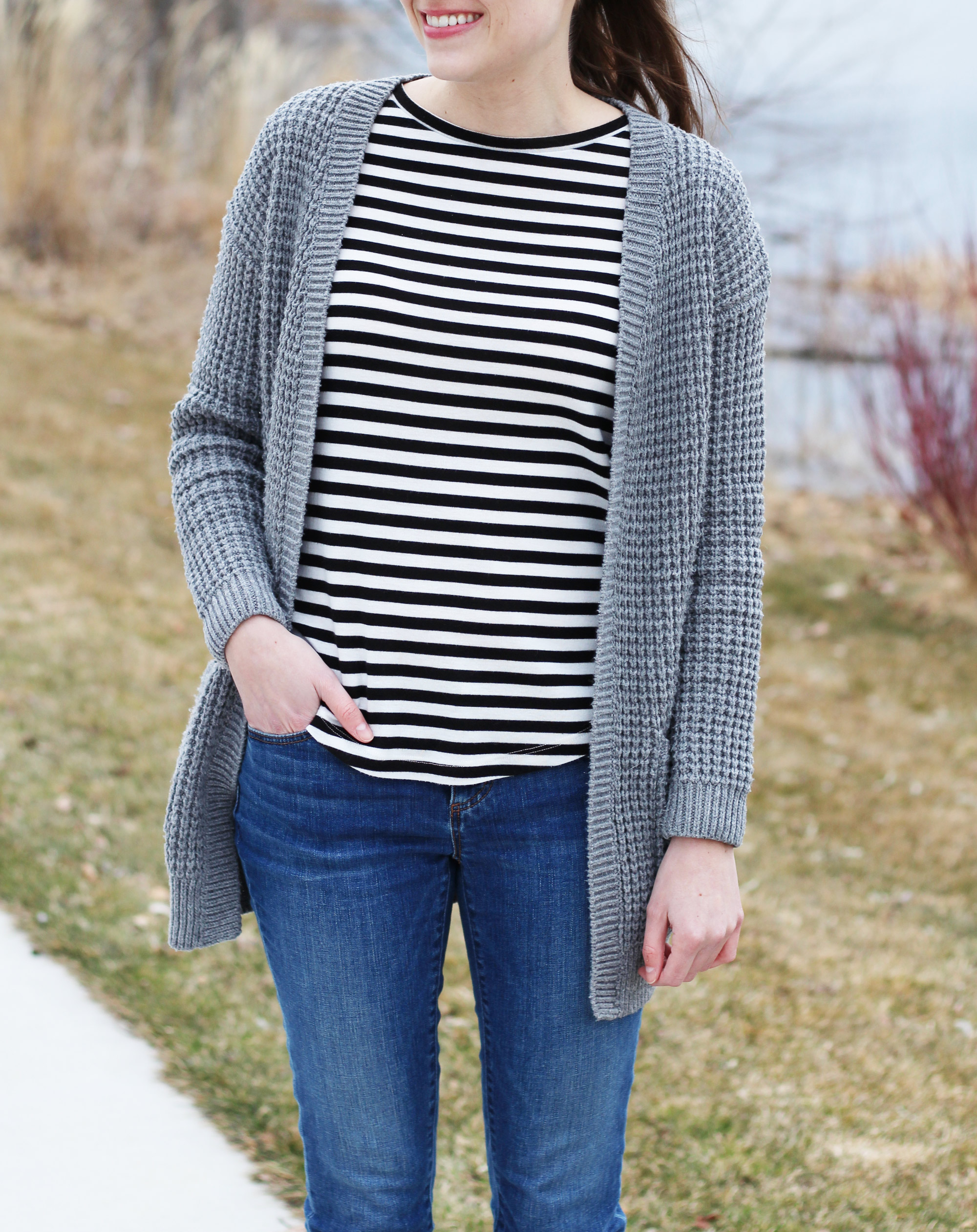 Grey chunky cardigan + striped tee — Cotton Cashmere Cat Hair