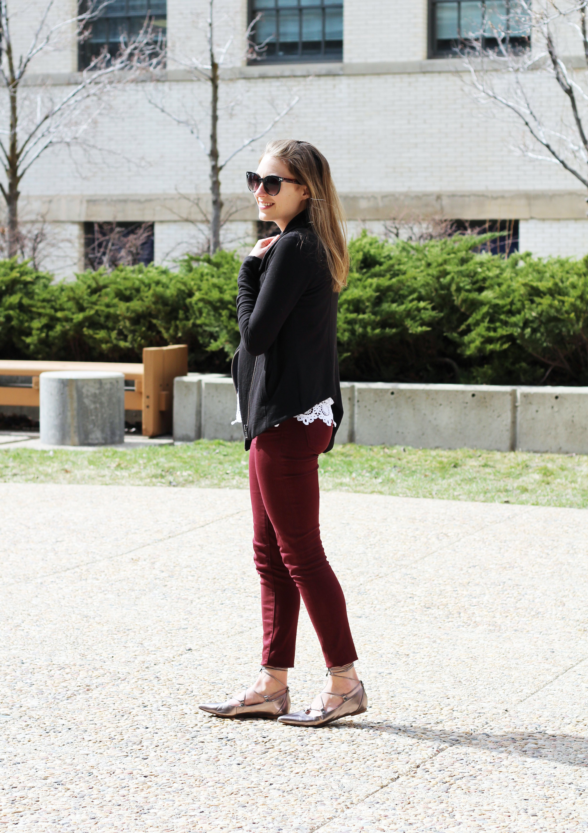 Asymmetrical sweatshirt, lace top, burgundy pants, lace-up flats — Cotton Cashmere Cat Hair