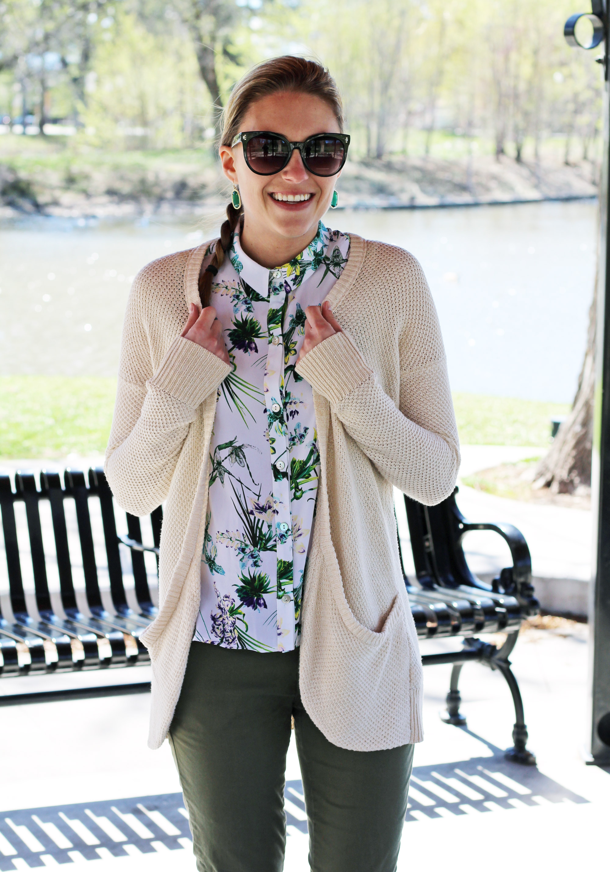 Tropical print outfit with cream cardigan — Cotton Cashmere Cat Hair