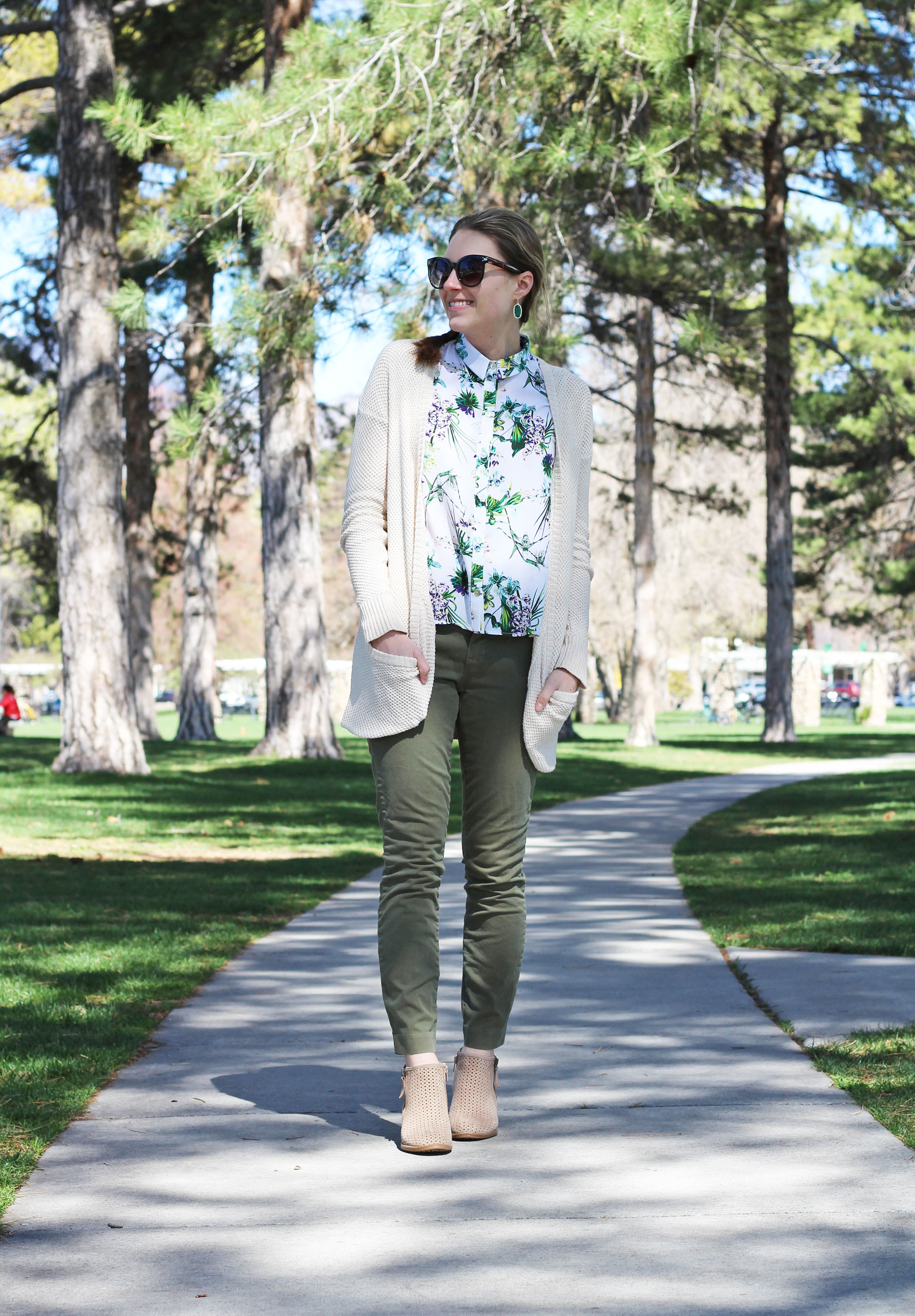 Earth 'Pineberry' boots outfit with green chinos, tropical tank, cream cardigan — Cotton Cashmere Cat Hair