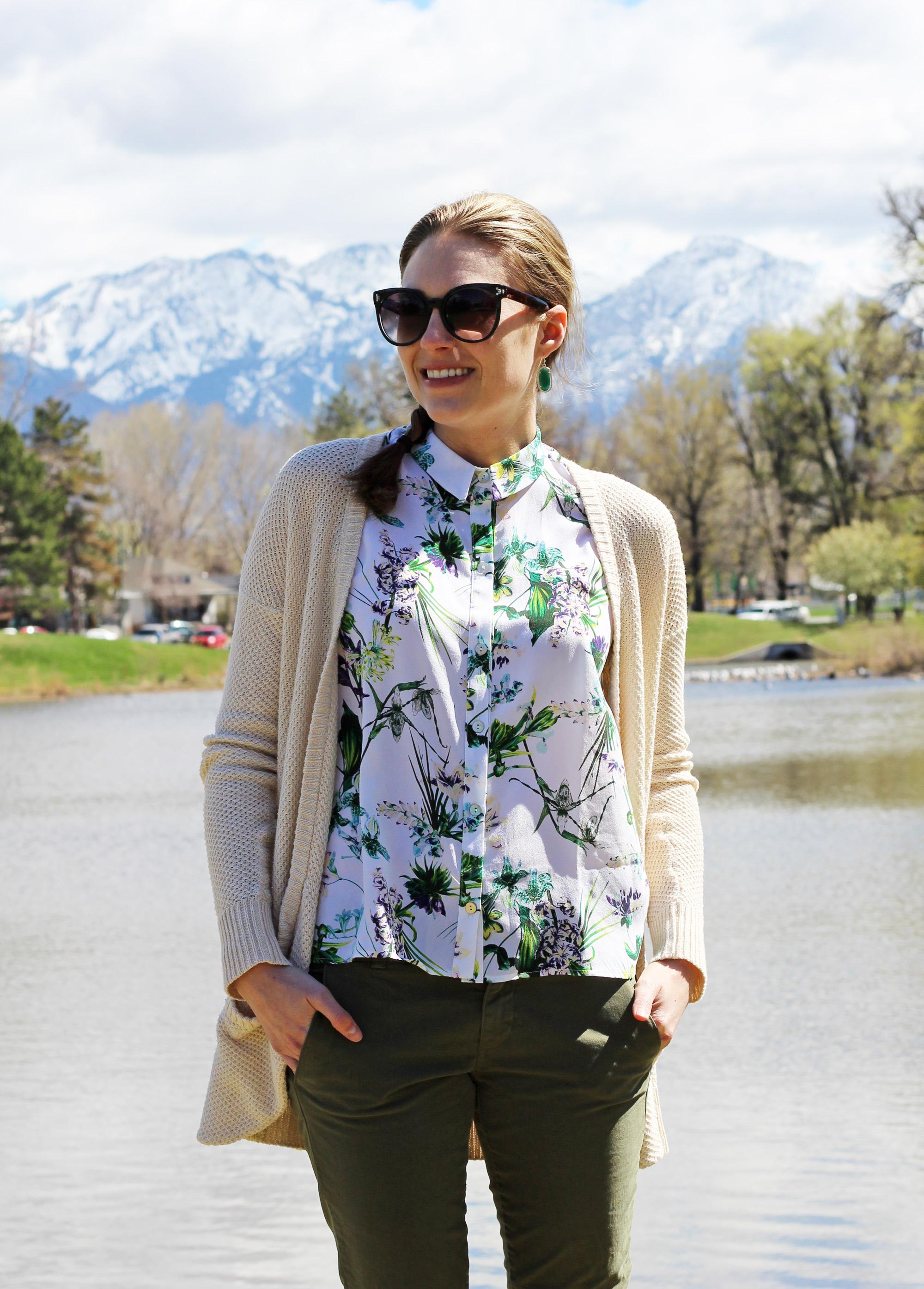 Amour Vert 'Riley' silk shirt in tropical print — Cotton Cashmere Cat Hair