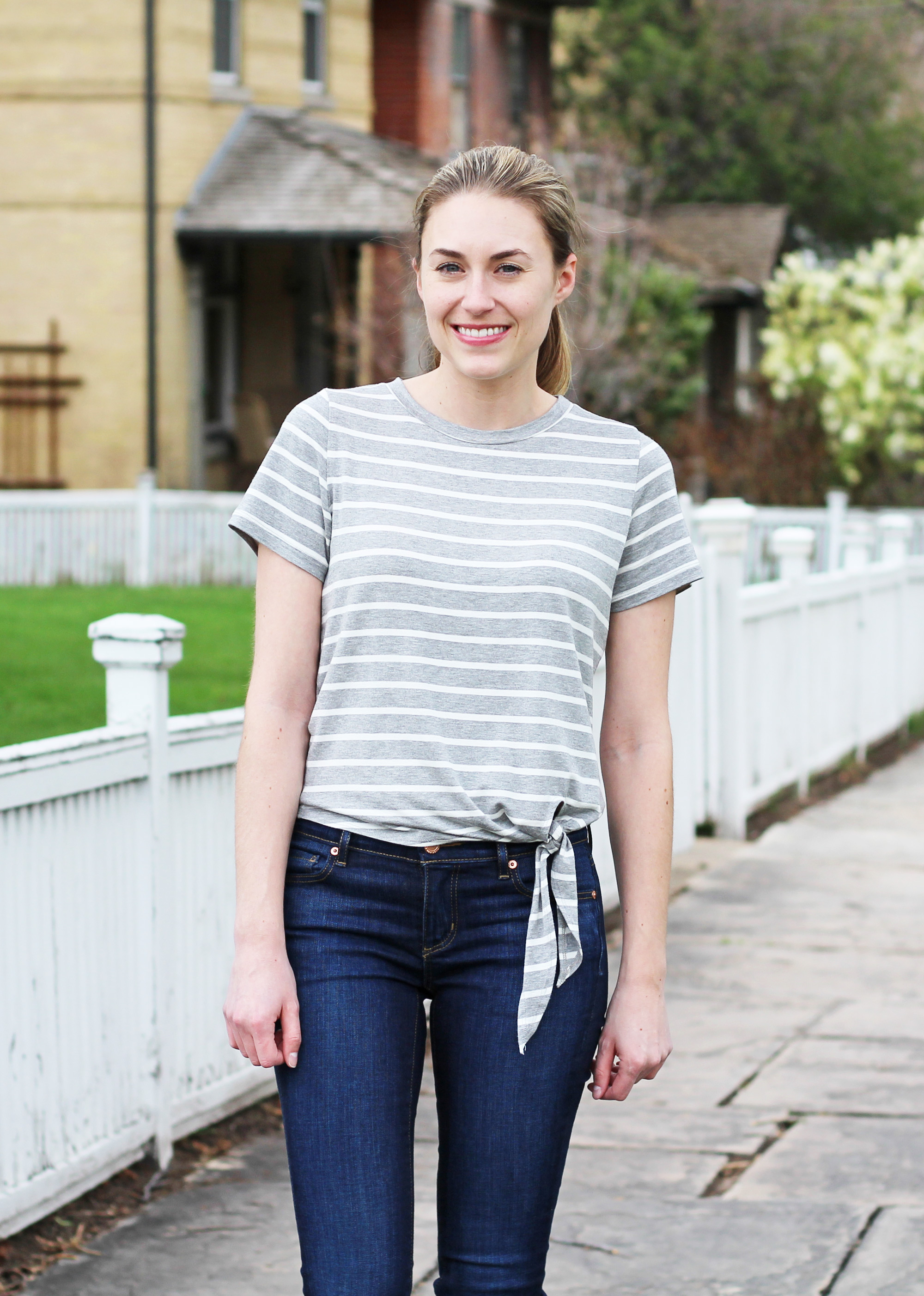 Spring outfit with grey striped side-tie tee — Cotton Cashmere Cat Hair