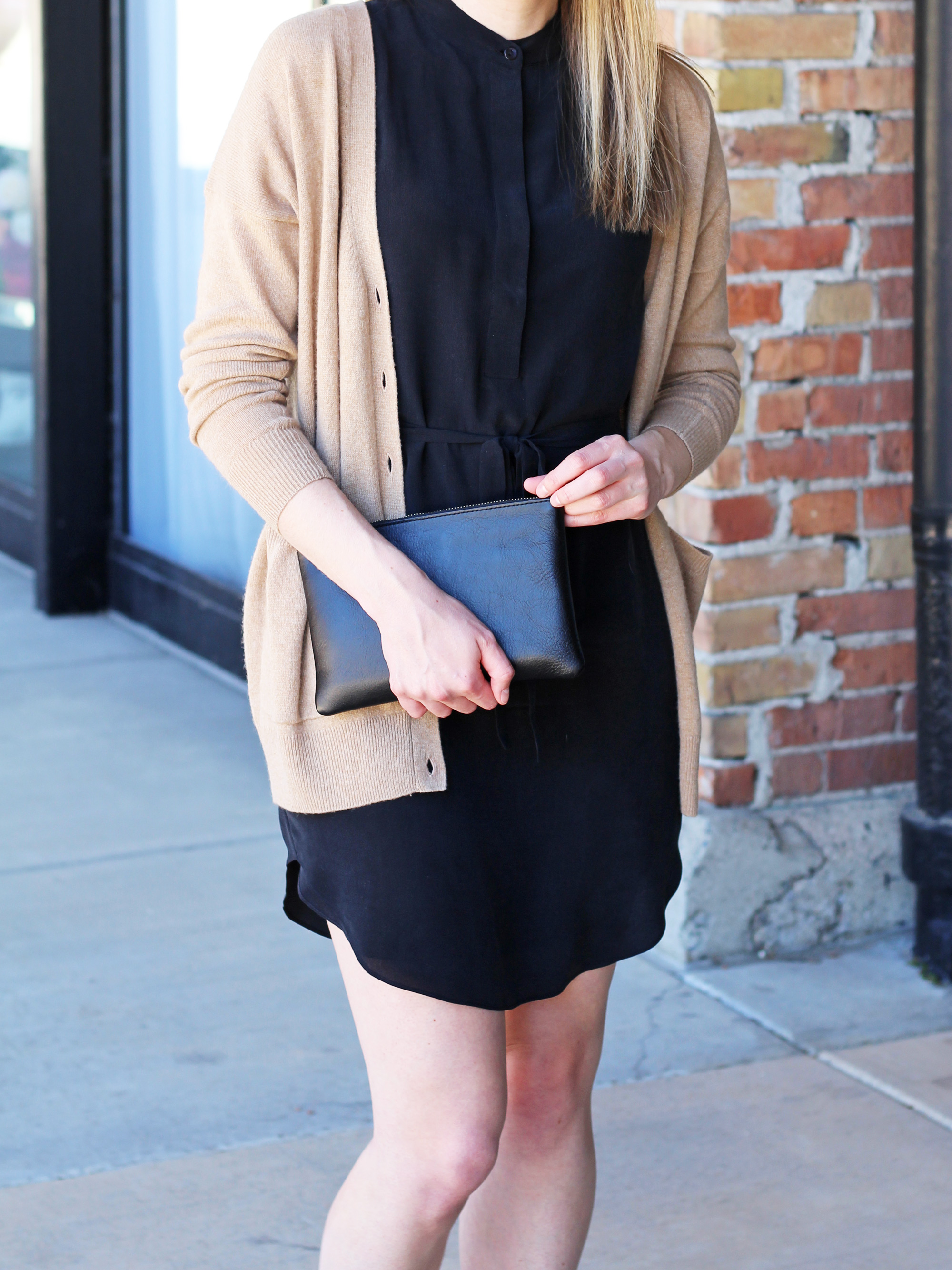 Camel cardigan outfit with black silk dress and simple clutch — Cotton Cashmere Cat Hair