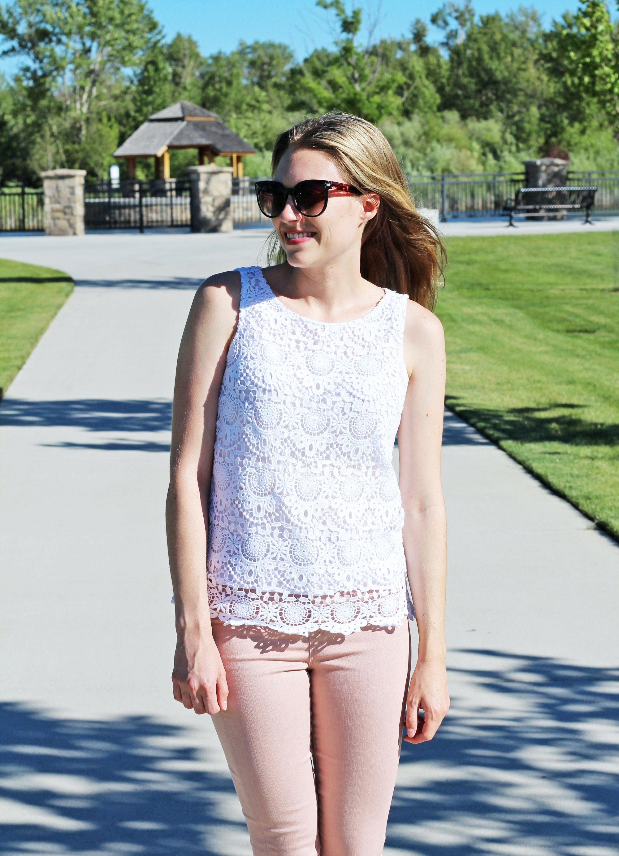 Lilly for Target white crochet tank top outfit with pink skinny jeans — Cotton Cashmere Cat Hair
