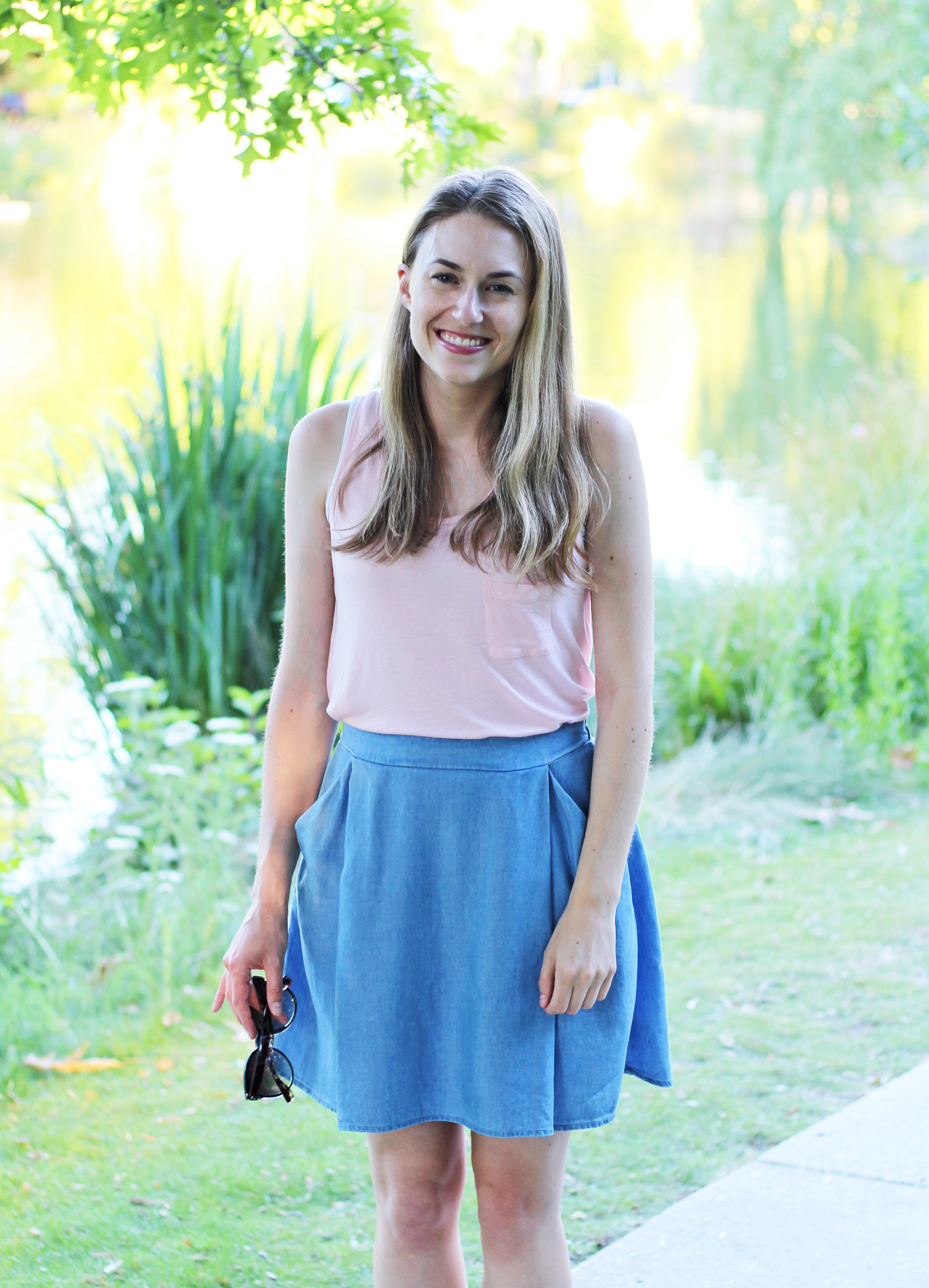 Chambray skirt outfit with light pink tank top — Cotton Cashmere Cat Hair