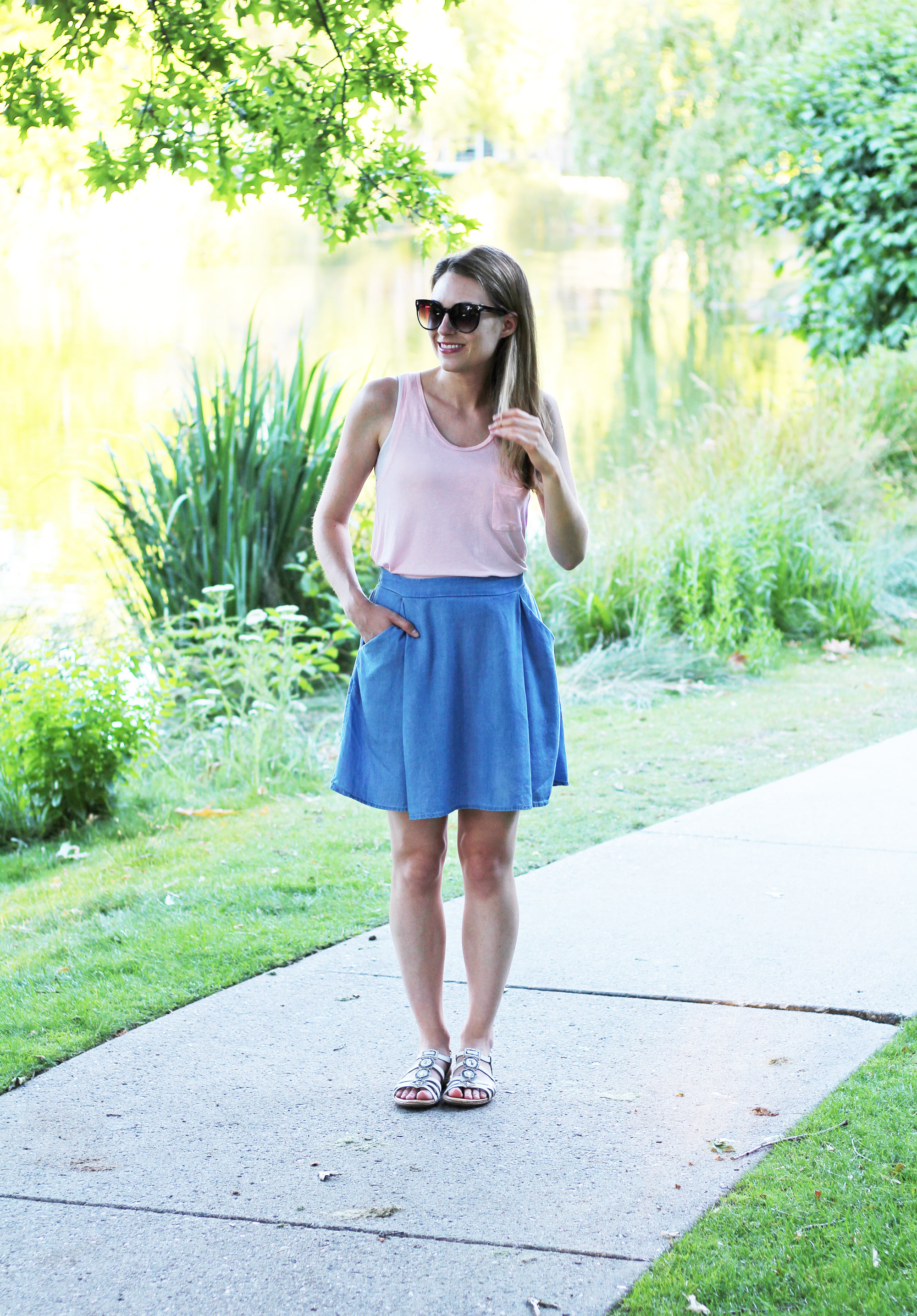 Summer outfit with light pink top, chambray skirt, white sandals — Cotton Cashmere Cat Hair
