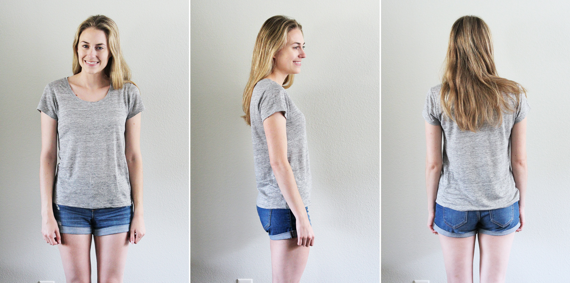 Everlane 'The Linen Scoopneck Tee' in heather grey — Cotton Cashmere Cat Hair