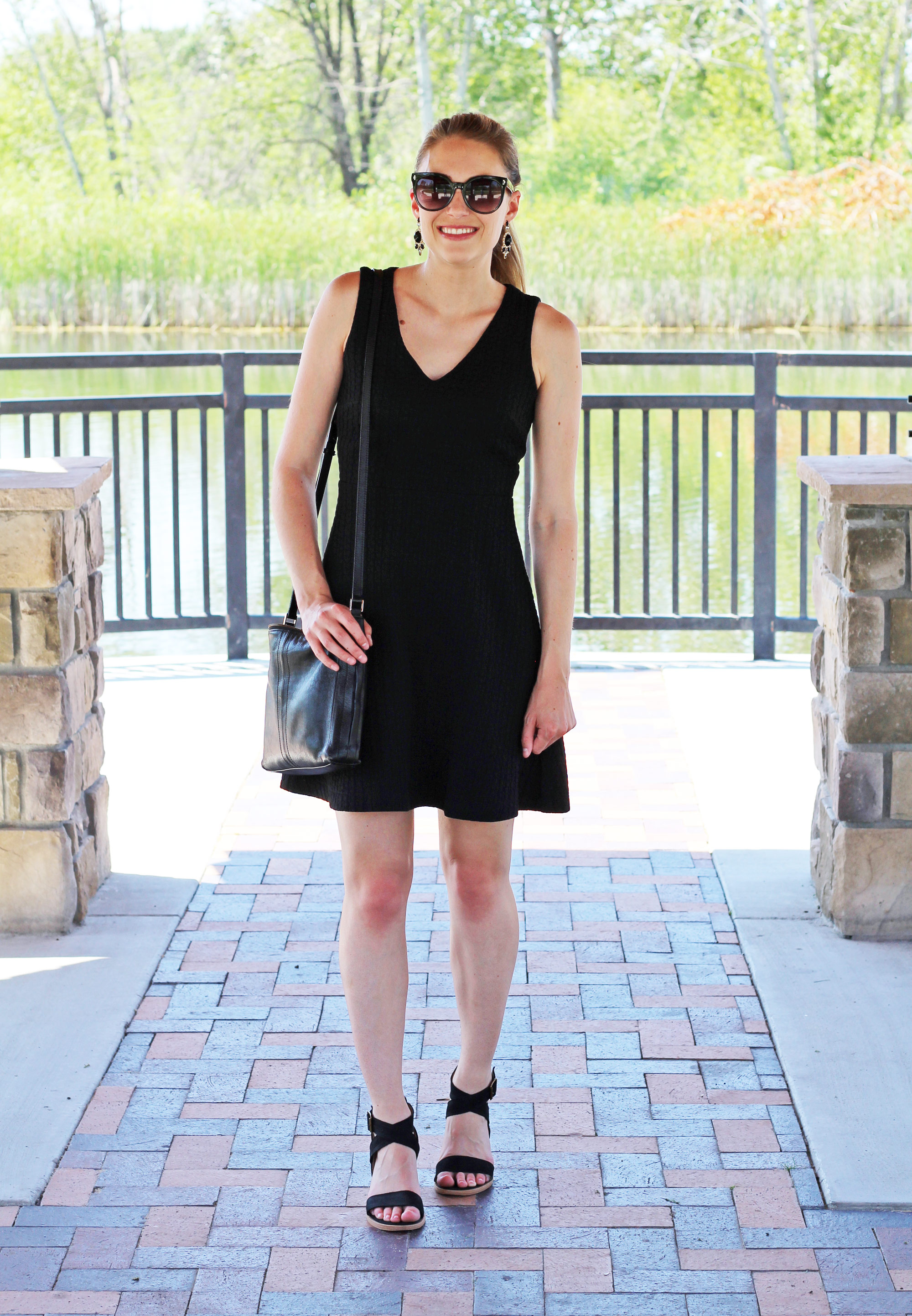 Little black dress outfit with black sandals and statement earrings — Cotton Cashmere Cat Hair