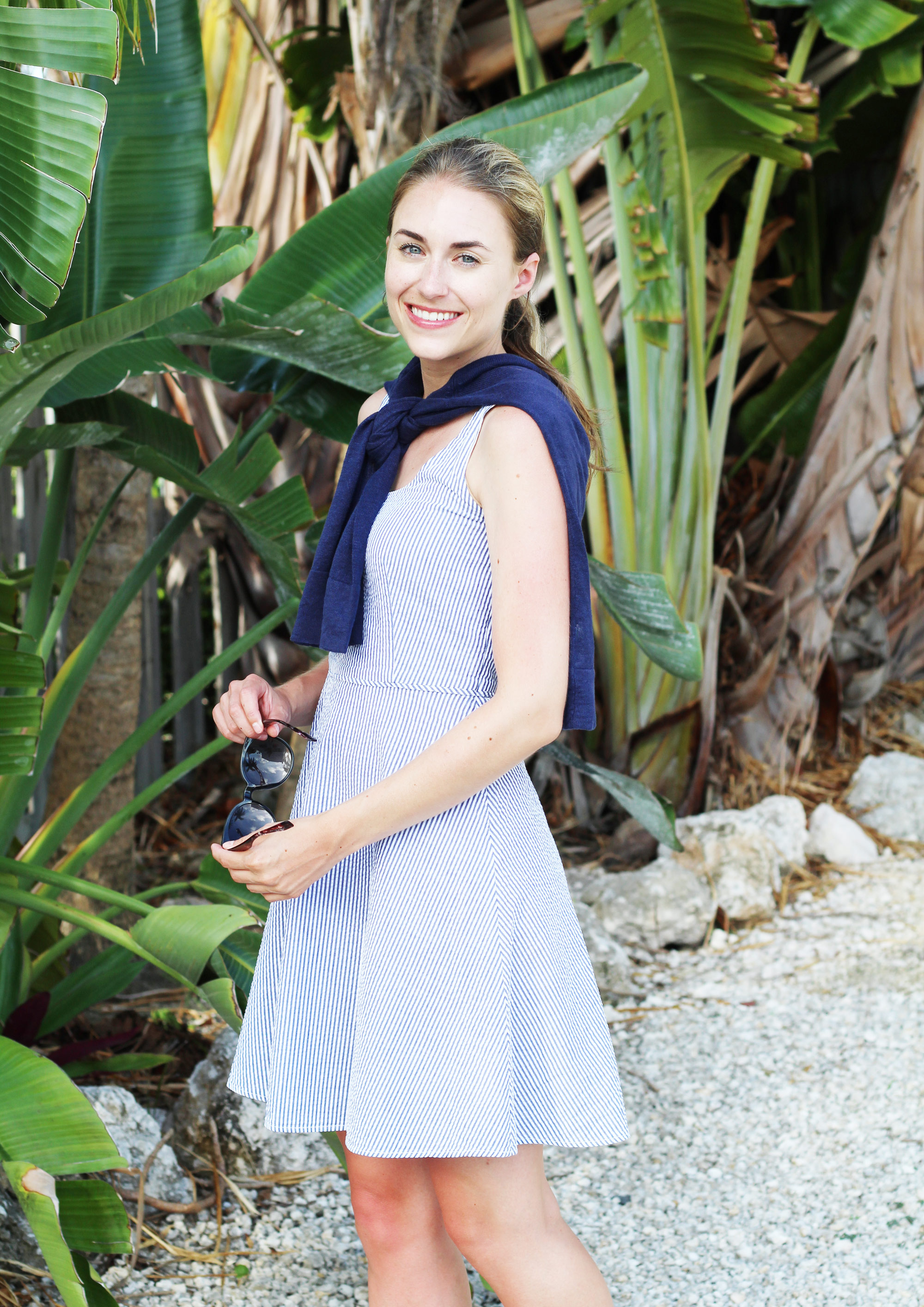 Preppy seersucker dress outfit with navy linen sweater — Cotton Cashmere Cat Hair