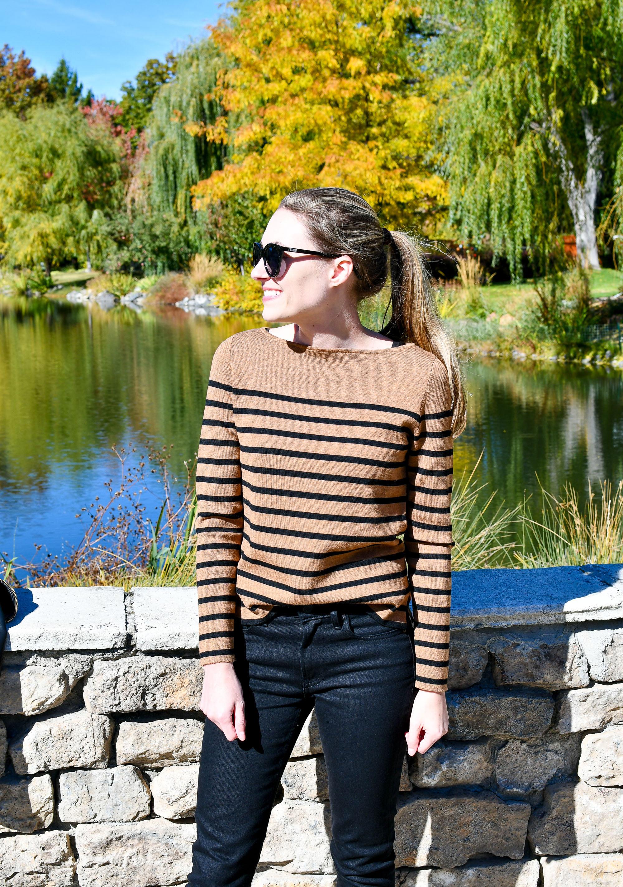 Camel bateau striped sweater outfit — Cotton Cashmere Cat Hair