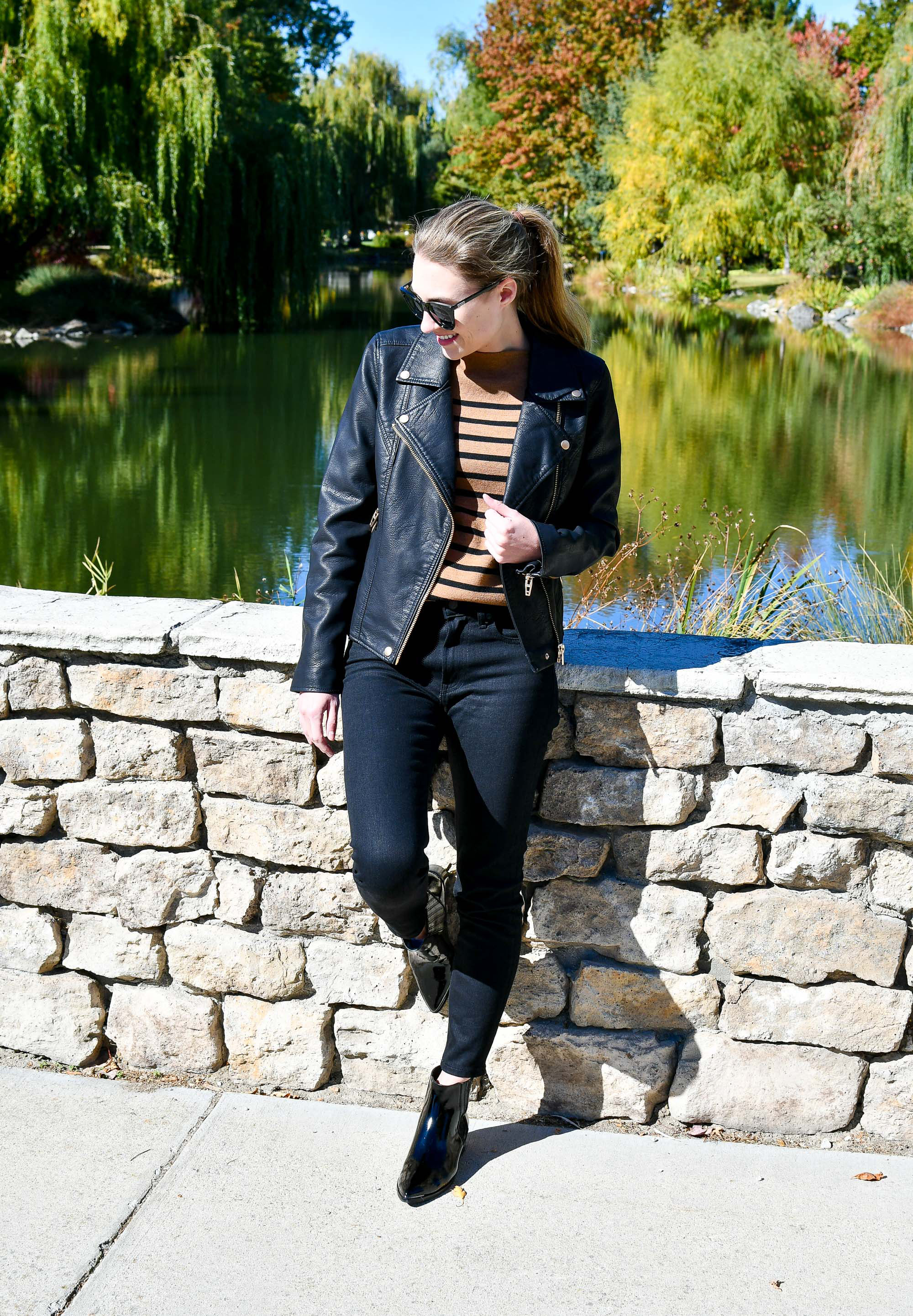 Blank NYC Life Changer moto jacket outfit with black skinny jeans — Cotton Cashmere Cat Hair