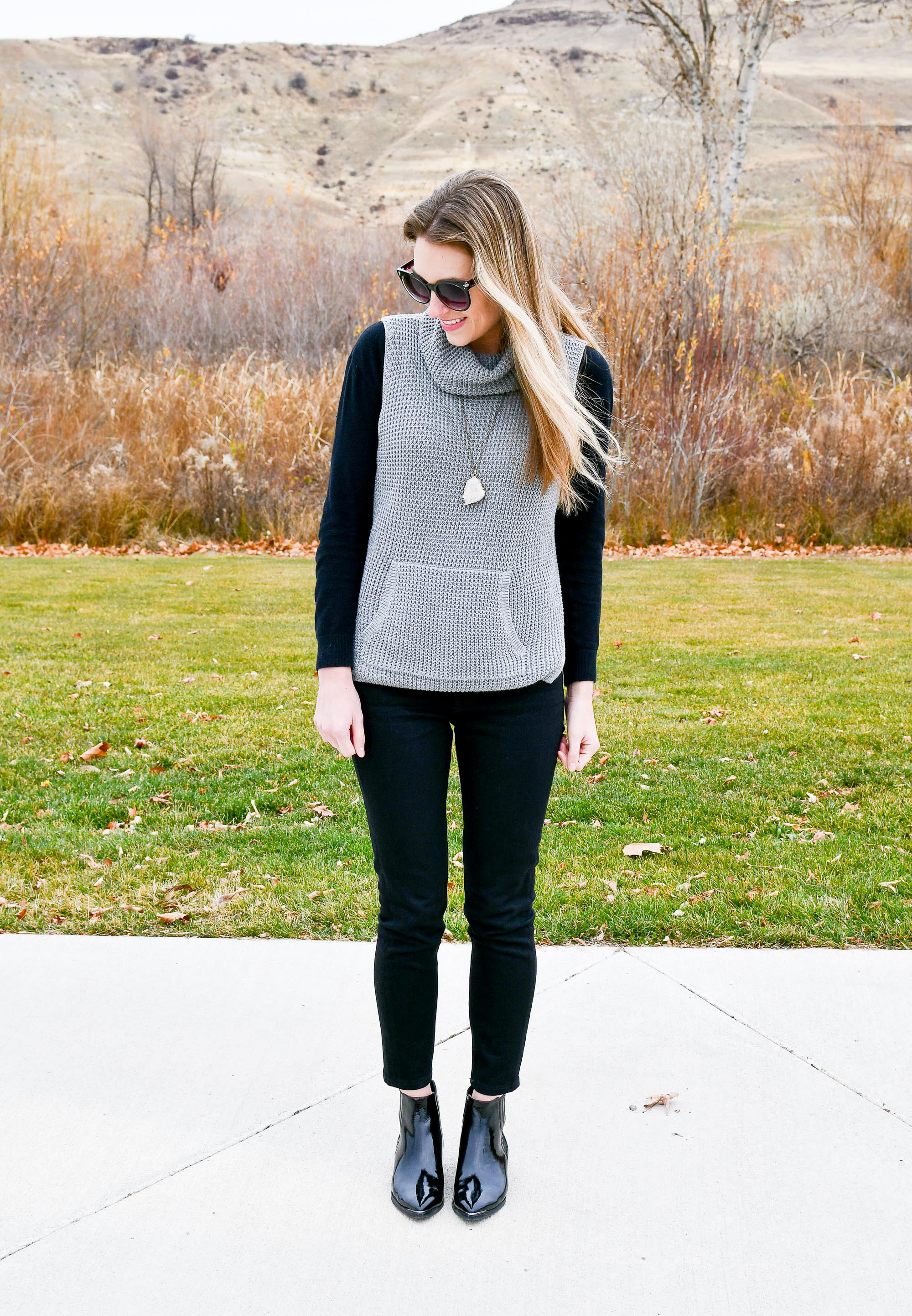 Everlane midrise skinny jeans outfit — Cotton Cashmere Cat Hair