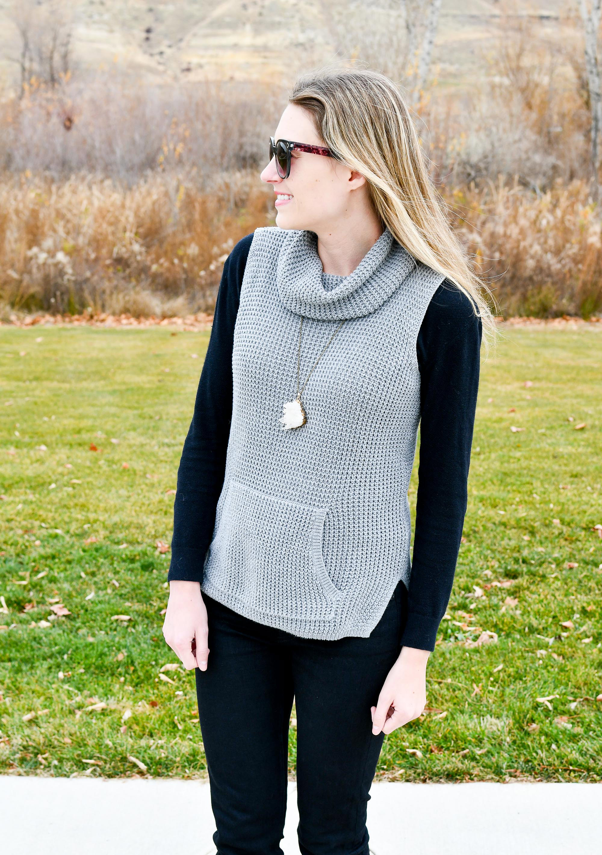 Waffle knit sleeveless sweater fall outfit — Cotton Cashmere Cat Hair