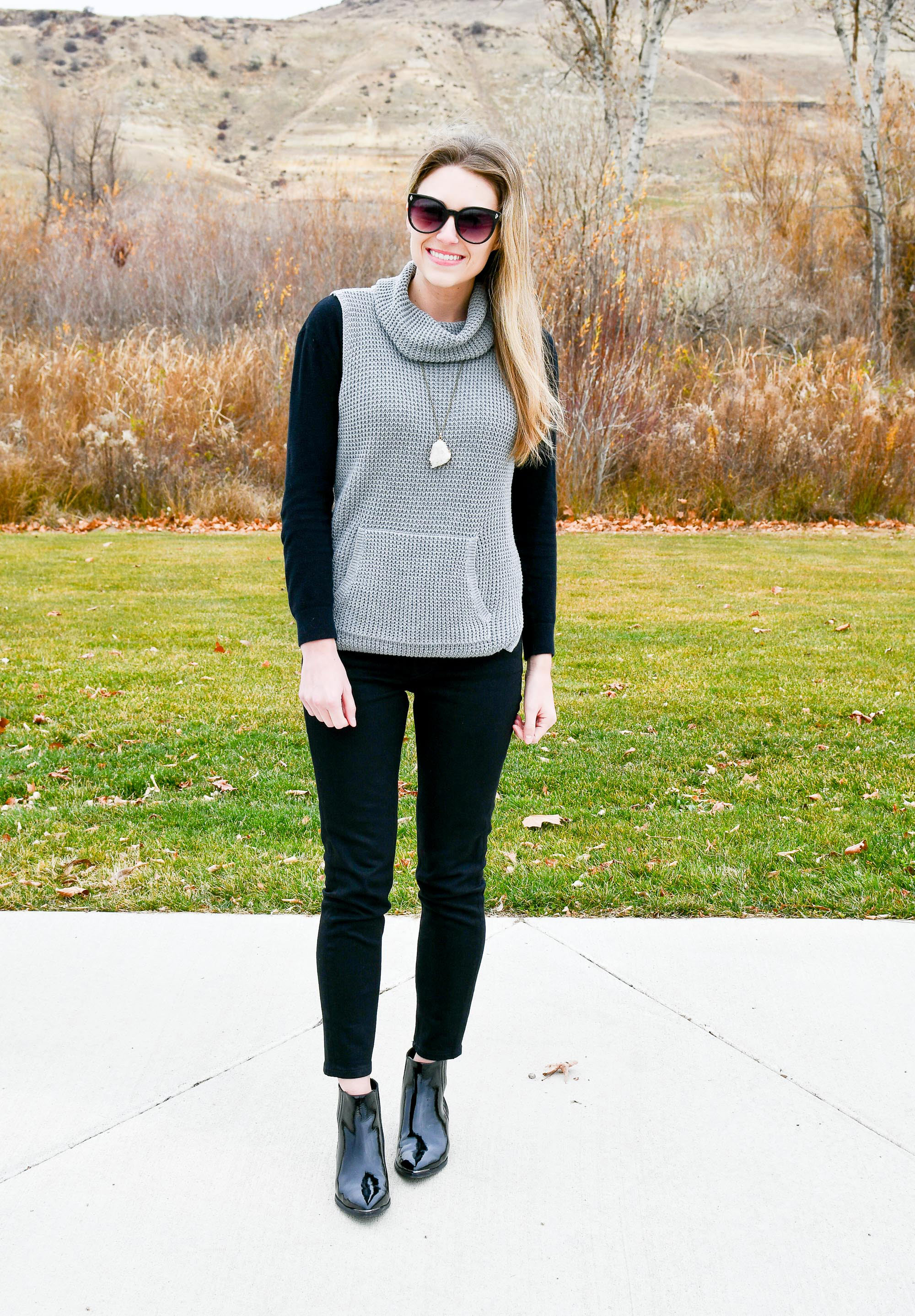 Sleeveless sweater outfit with black skinny jeans — Cotton Cashmere Cat Hair
