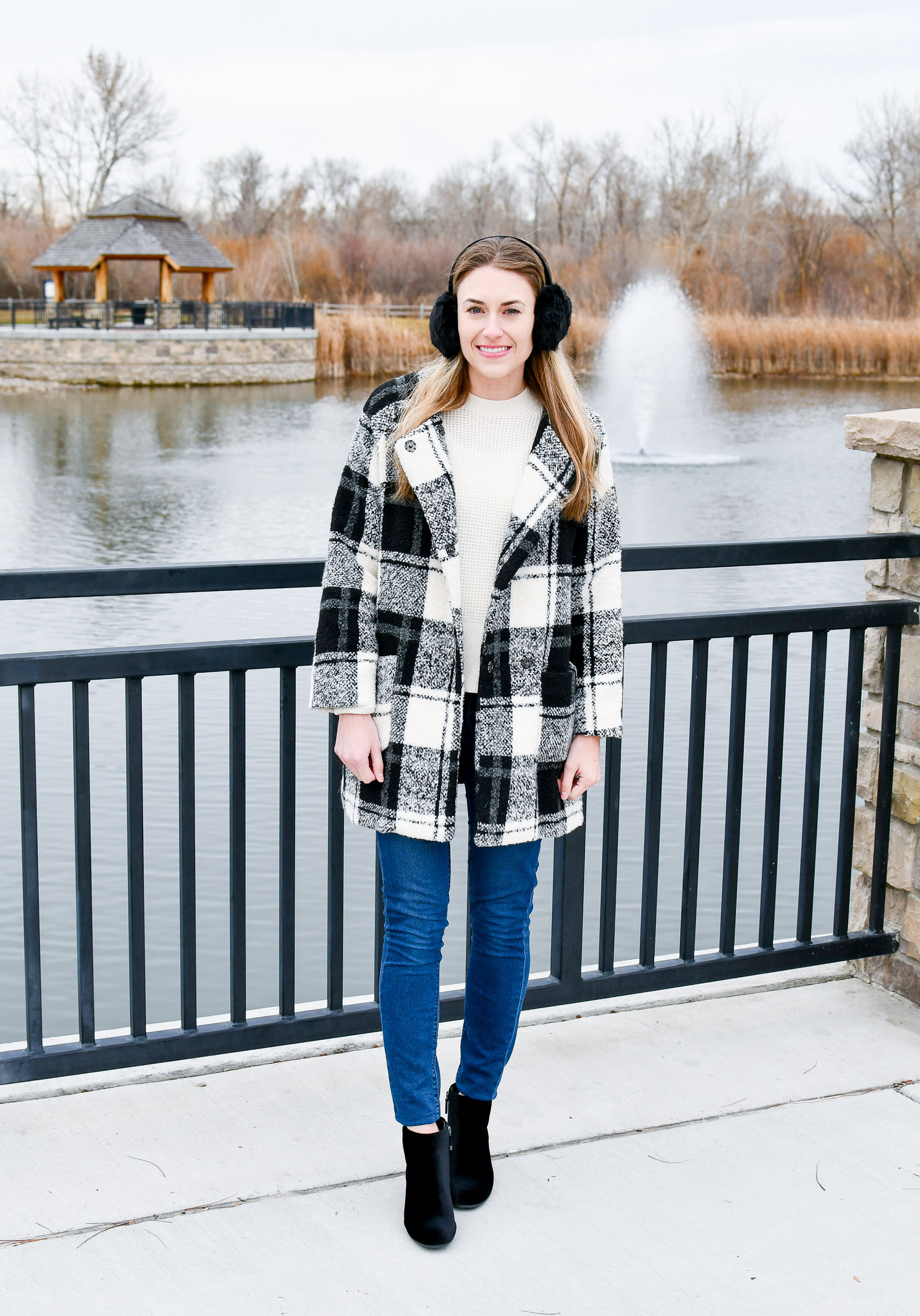 Plaid coat outfit with velvet ankle boots — Cotton Cashmere Cat Hair