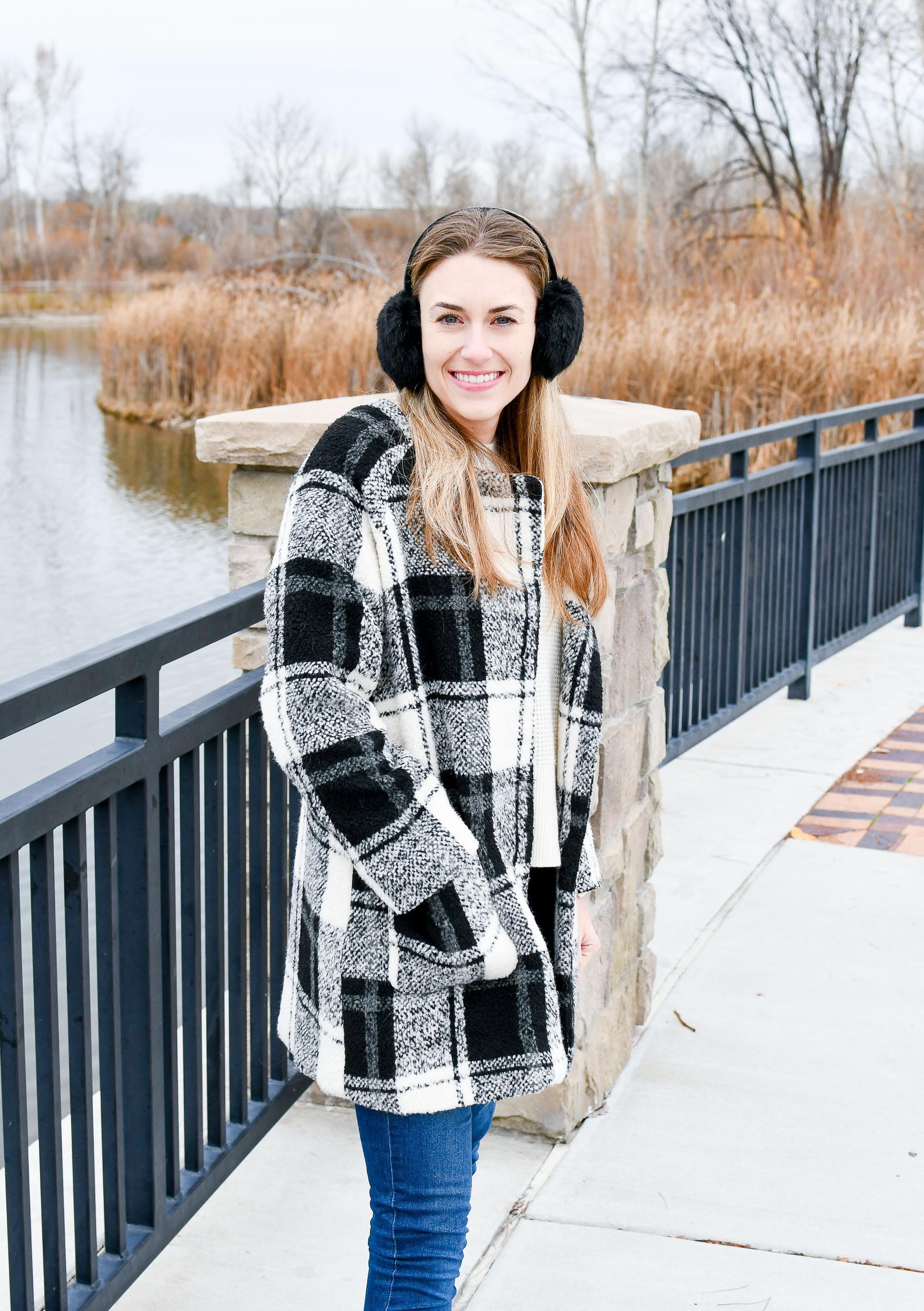 Black faux fur earmuffs with plaid coat — Cotton Cashmere Cat Hair