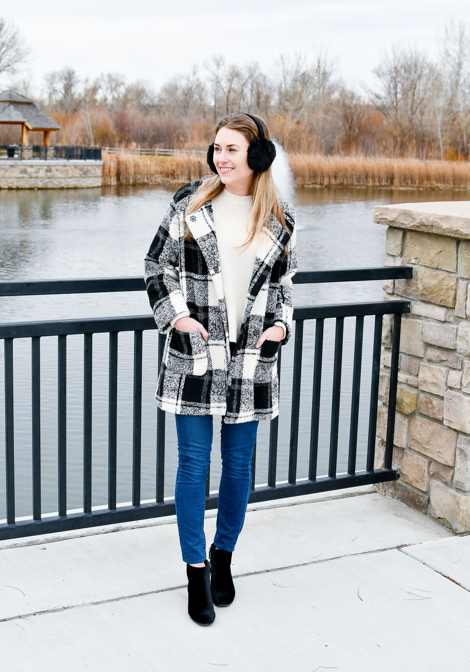 Fall winter outfit with black white plaid coat — Cotton Cashmere Cat Hair