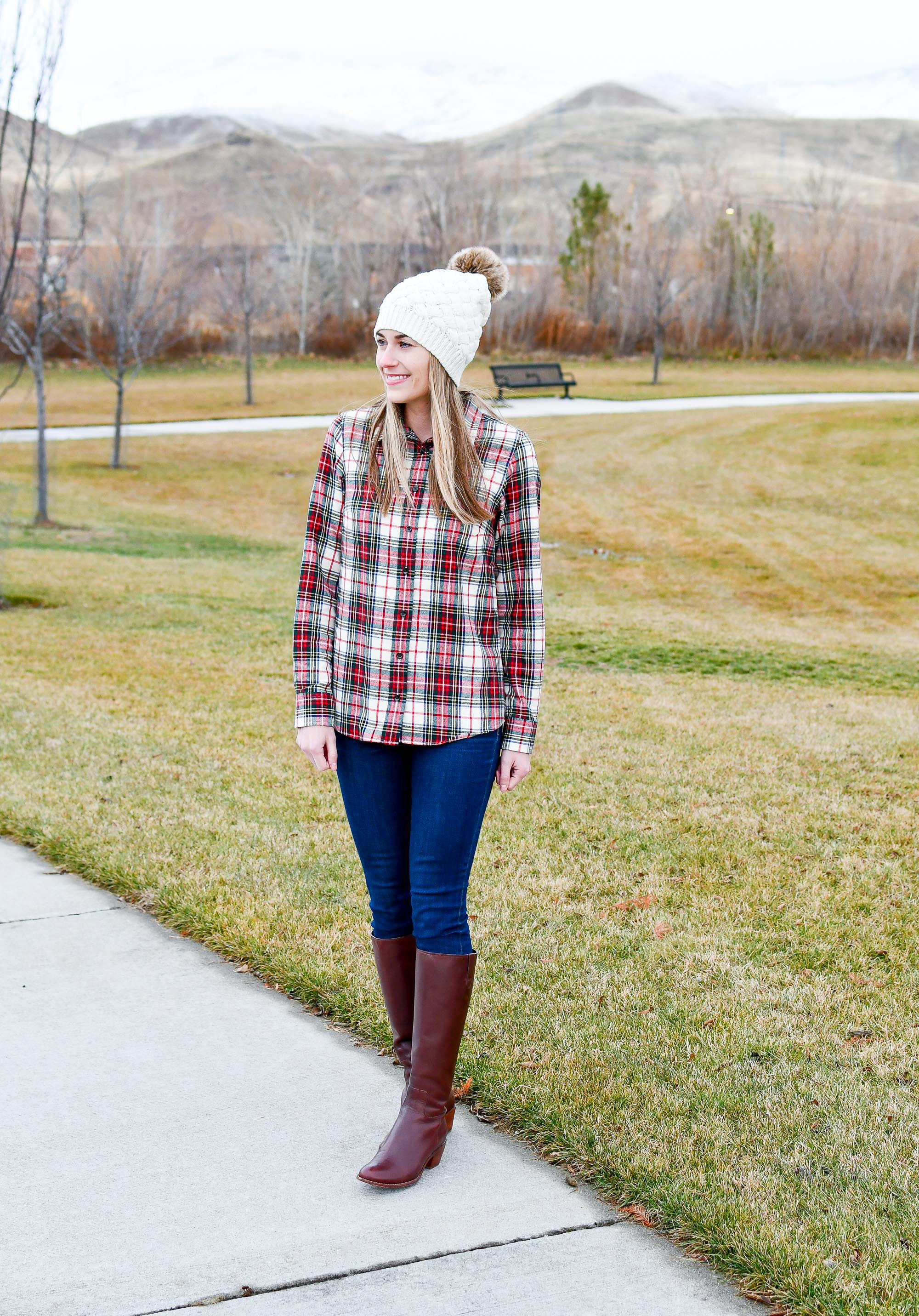 Plaid flannel shirt outfit with beanie and tall boots — Cotton Cashmere Cat Hair