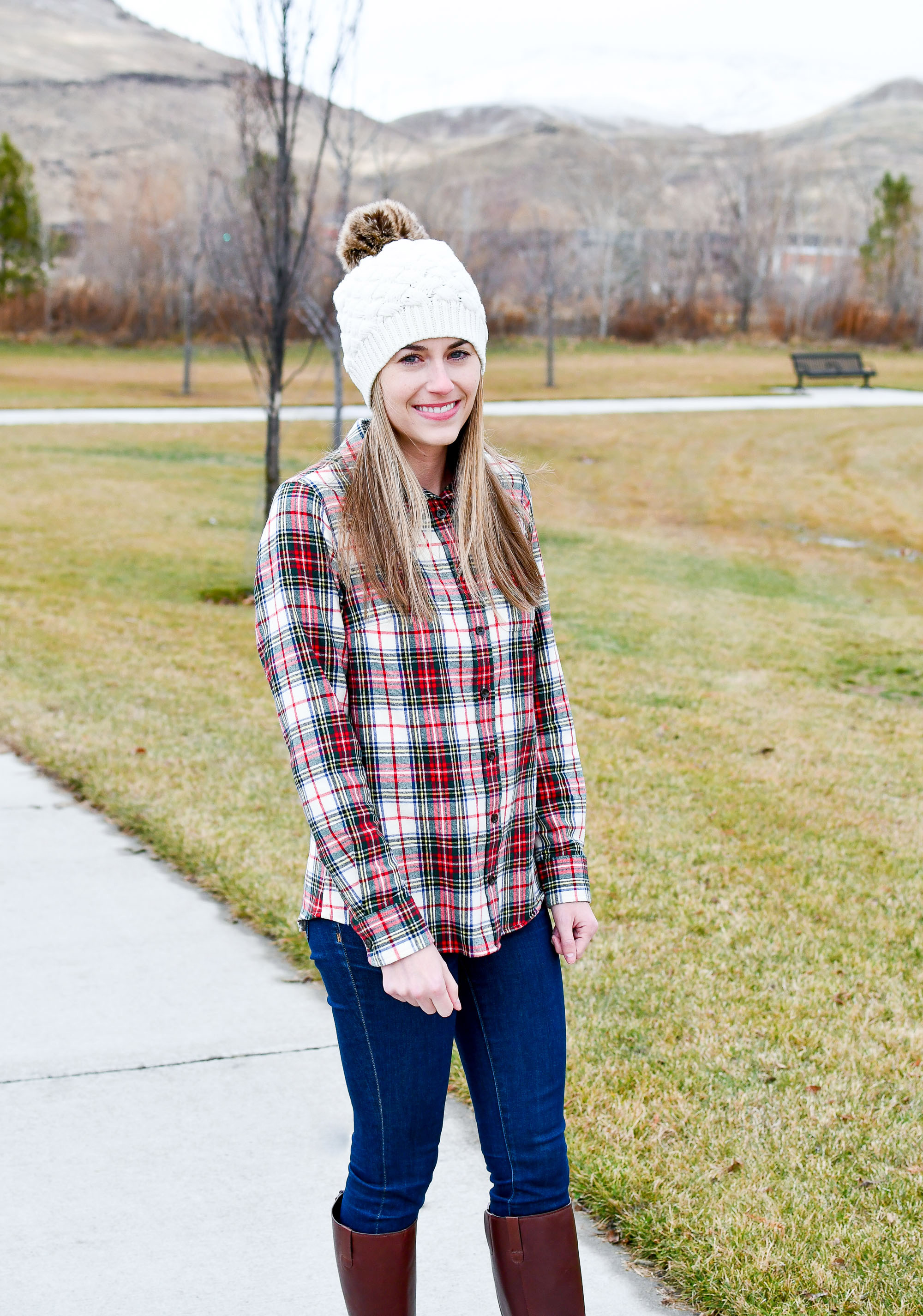 L.L.Bean Scotch Plaid flannel shirt outfit — Cotton Cashmere Cat Hair