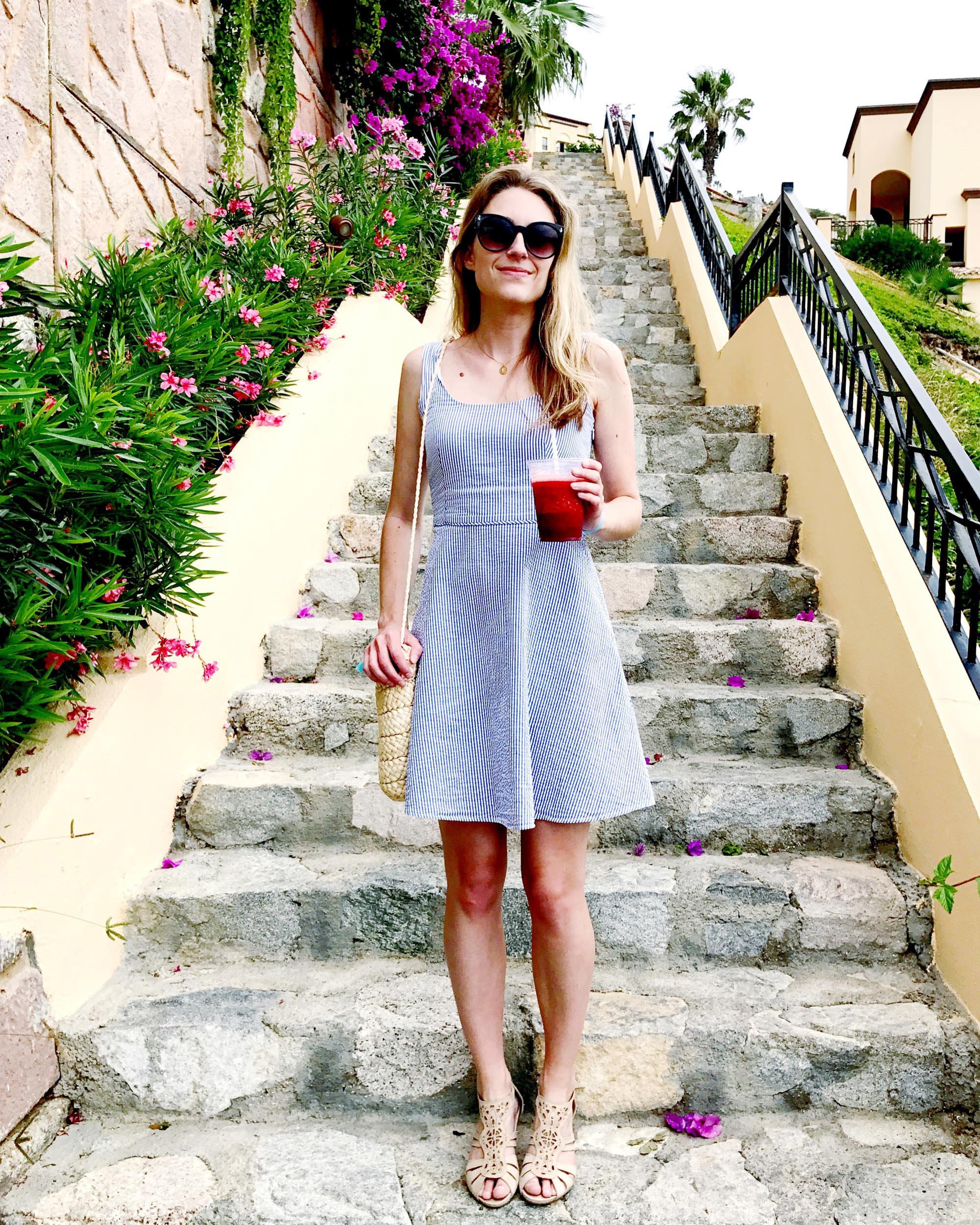 Seersucker sun dress outfit in Cabo San Lucas, Mexico — Cotton Cashmere Cat Hair
