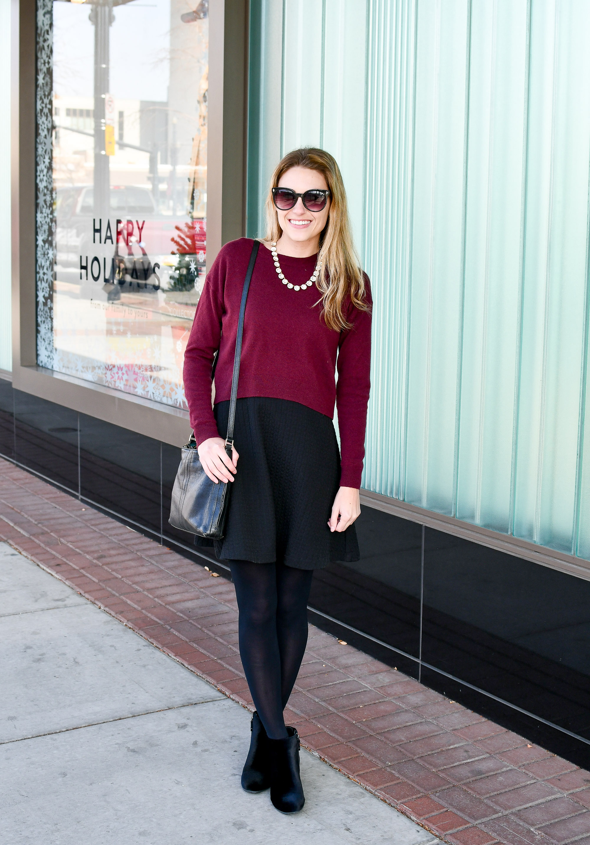 Cropped sweater outfit over dress — Cotton Cashmere Cat Hair