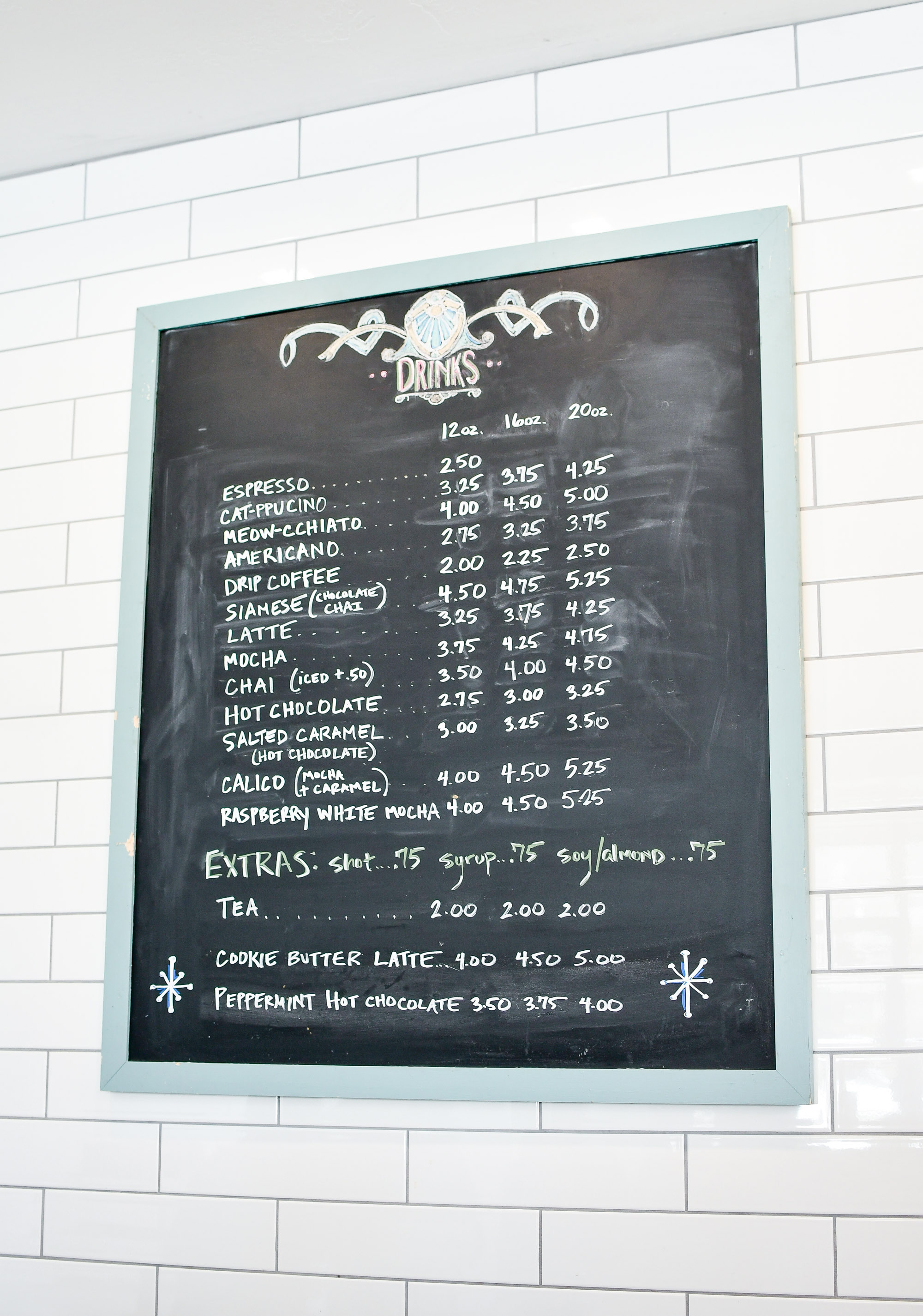Menu at Tinker's Cat Cafe, Salt Lake City, Utah — Cotton Cashmere Cat Hair
