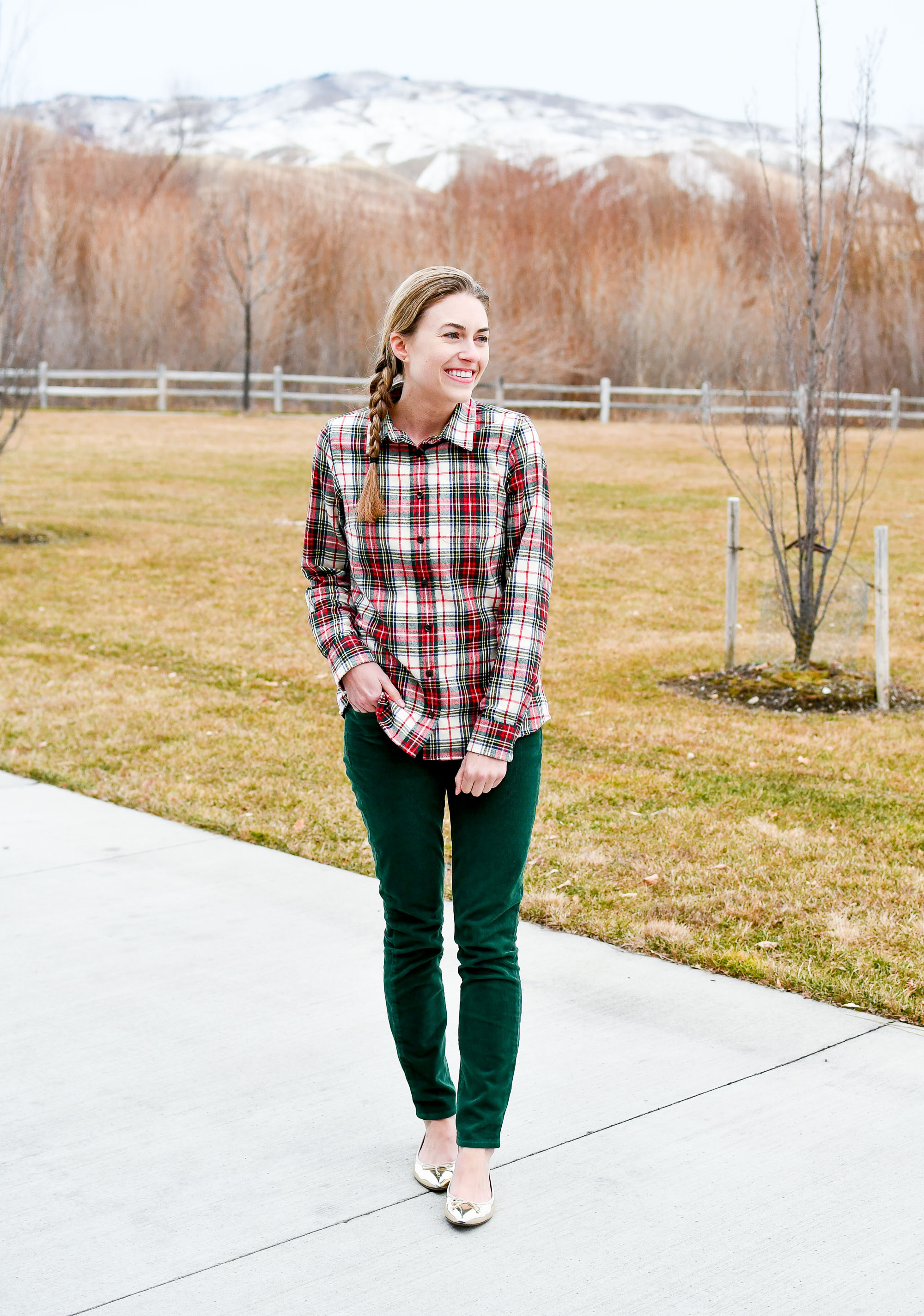Plaid flannel shirt outfit with corduroy pants and gold flats — Cotton Cashmere Cat Hair