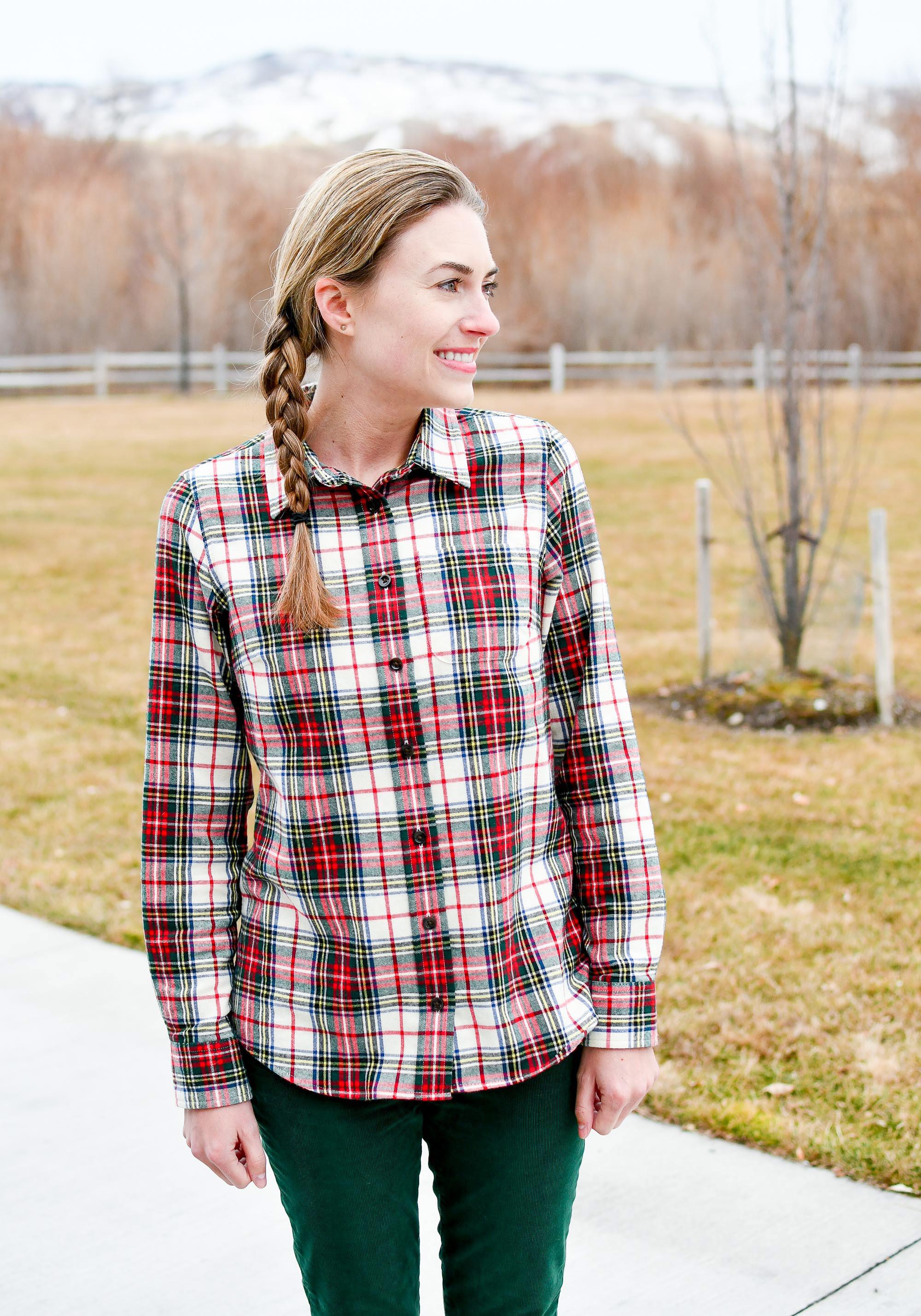 Stewart Victoria plaid flannel shirt winter outfit — Cotton Cashmere Cat Hair