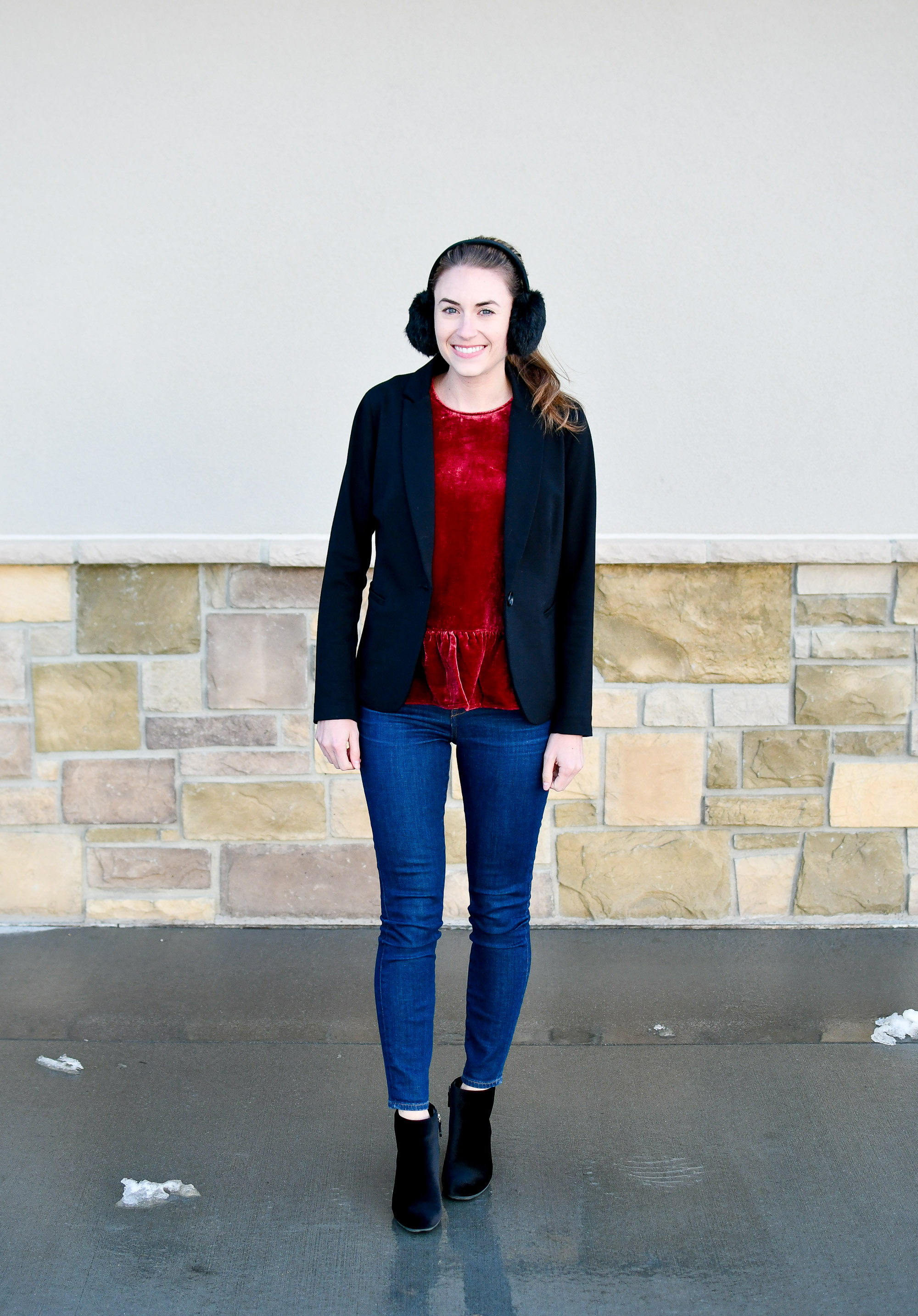 Winter work outfit with velvet peplum top and velvet boots — Cotton Cashmere Cat Hair