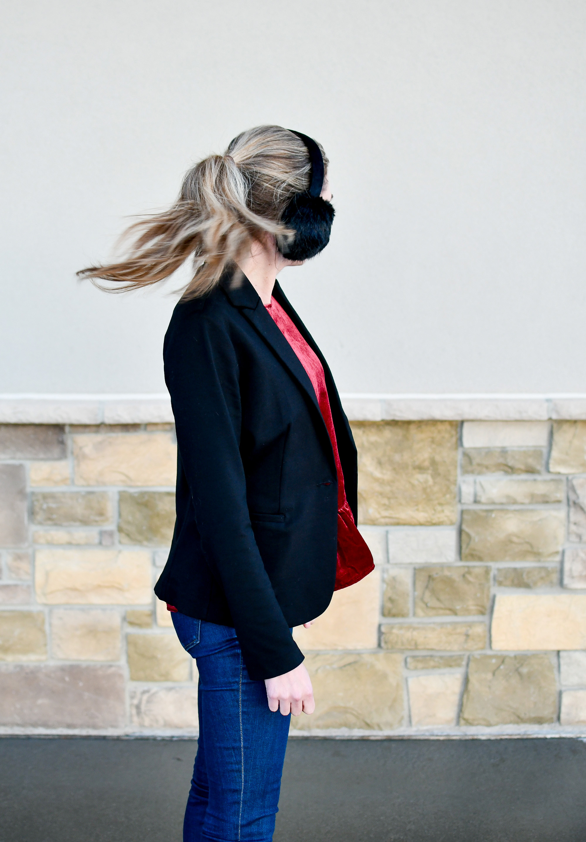 Winter work outfit with black blazer — Cotton Cashmere Cat Hair