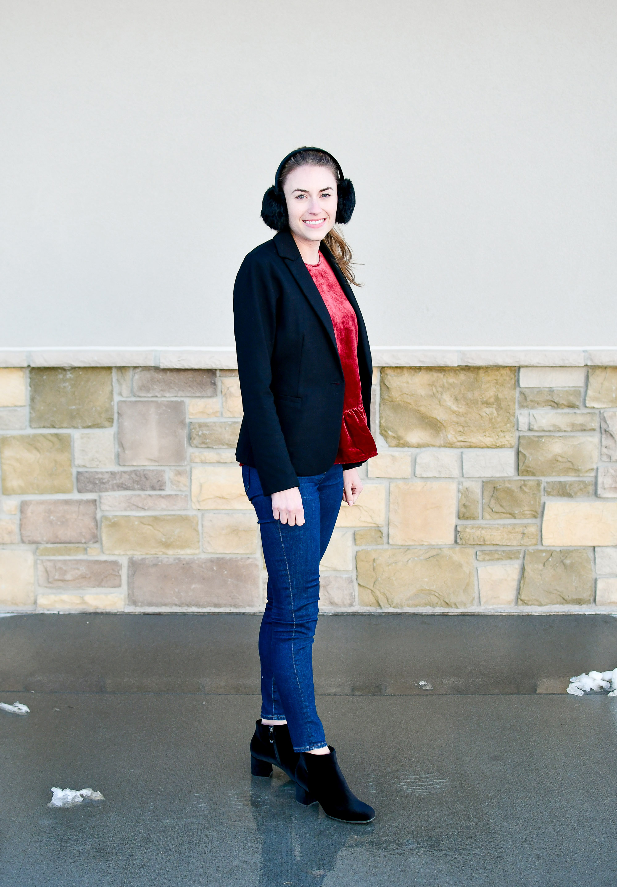 Velvet ankle boots outfit with black blazer and earmuffs — Cotton Cashmere Cat Hair