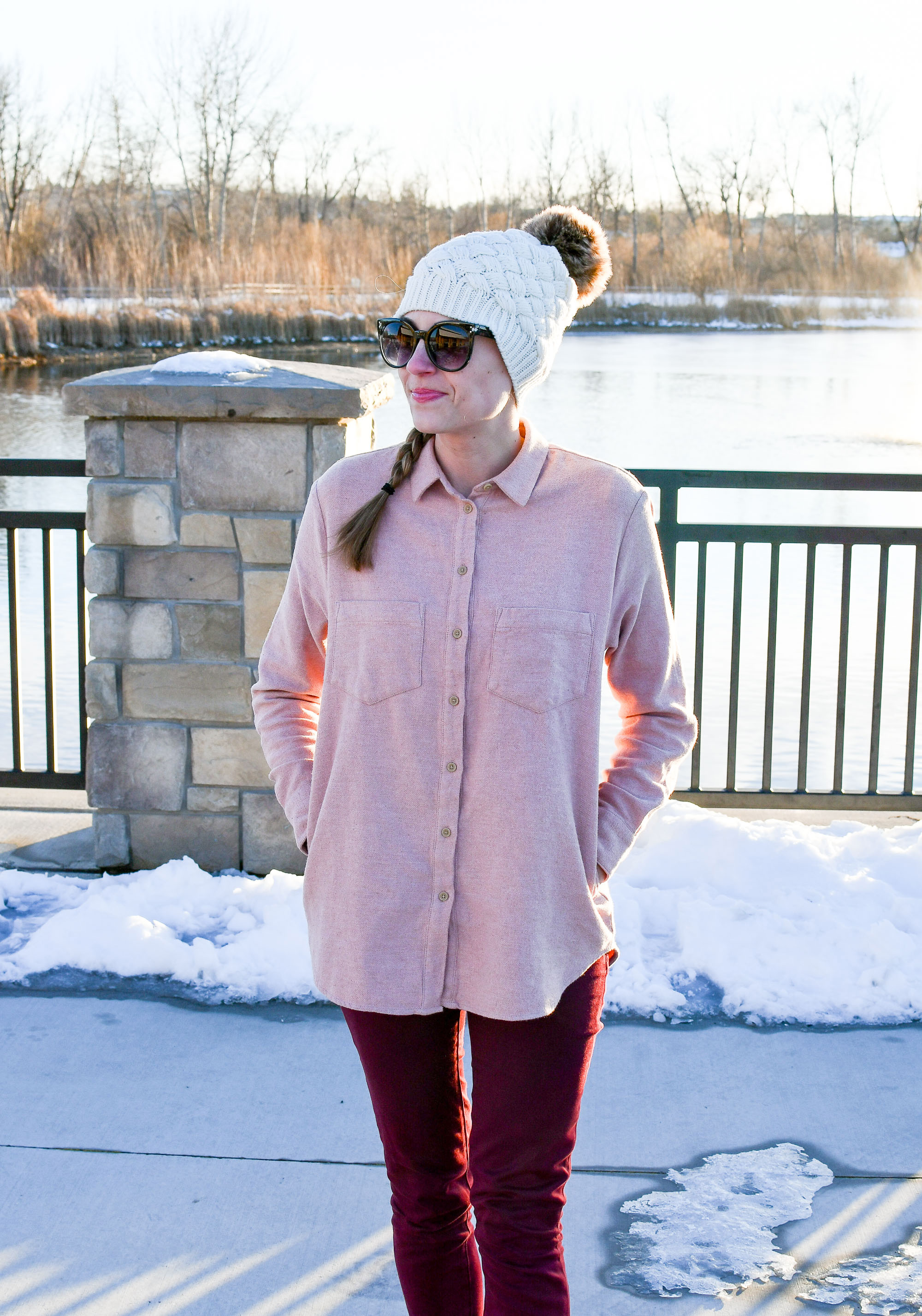 Pink flannel shirt with burgundy pants and beanie — Cotton Cashmere Cat Hair