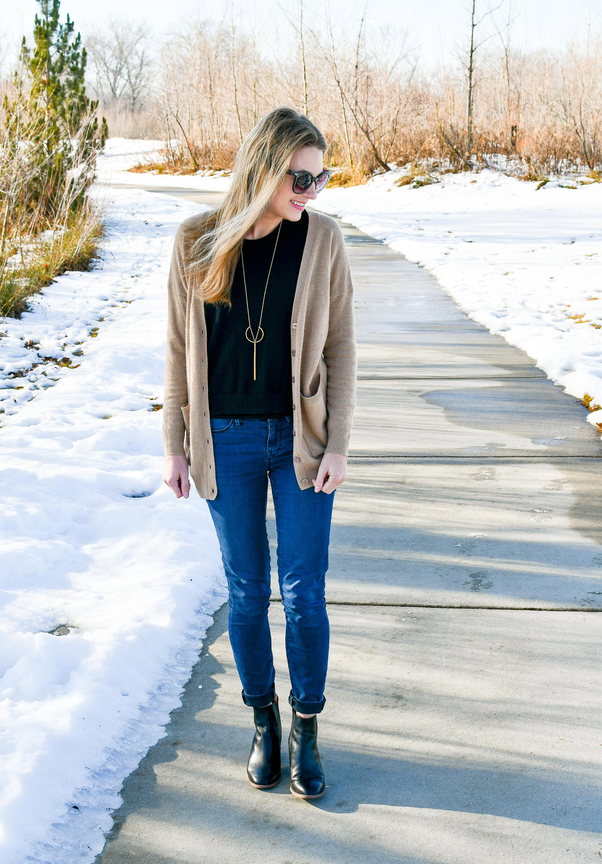 Winter outfit with layered sweaters — Cotton Cashmere Cat Hair