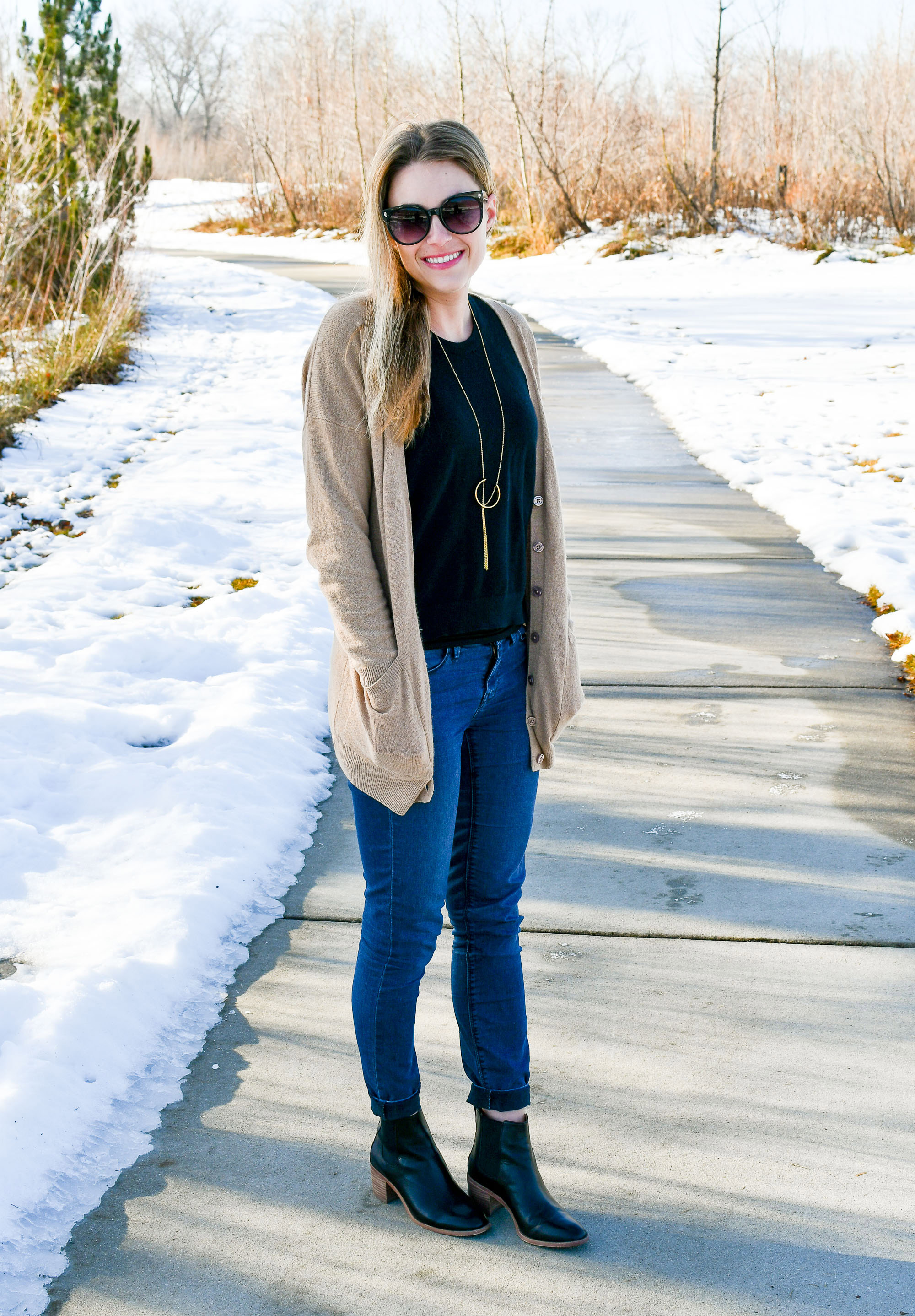 Camel cardigan winter outfit — Cotton Cashmere Cat Hair