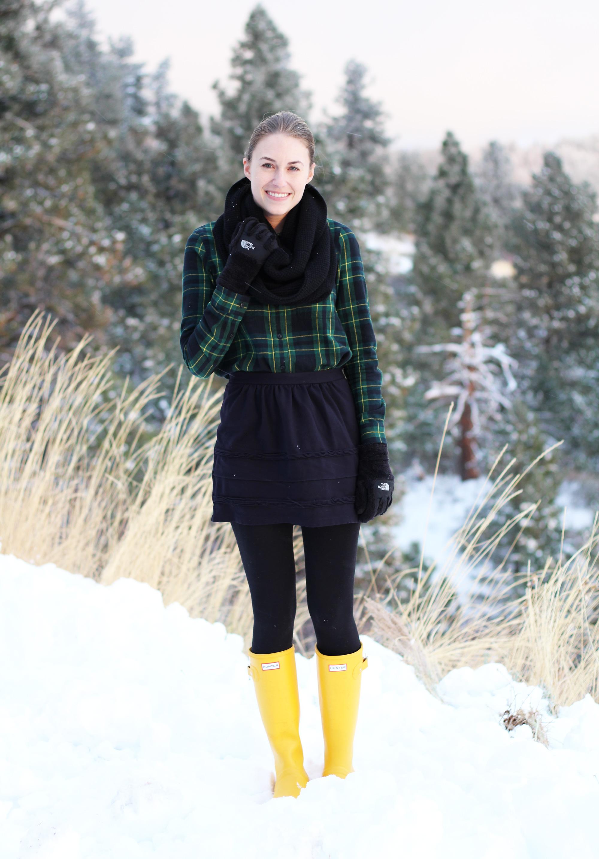 Hunter yellow packable tour boots — Cotton Cashmere Cat Hair