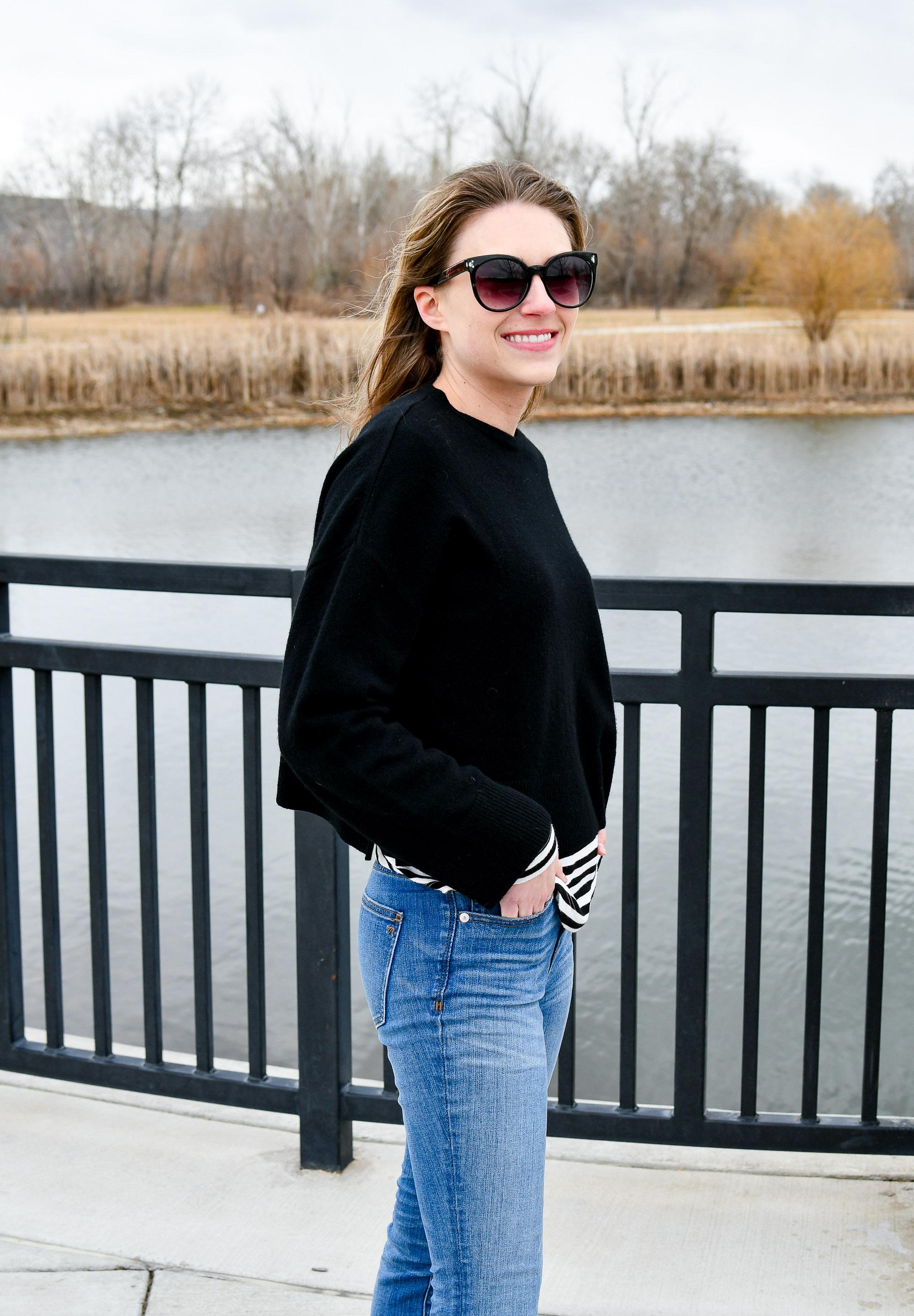 Black Grana cashmere volume sweater — Cotton Cashmere Cat Hair