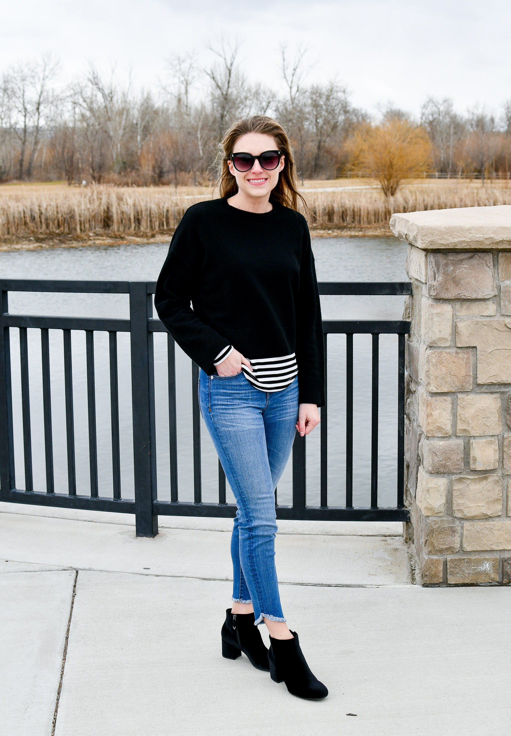 Winter outfit with black sweater, striped tee, velvet boots — Cotton Cashmere Cat Hair