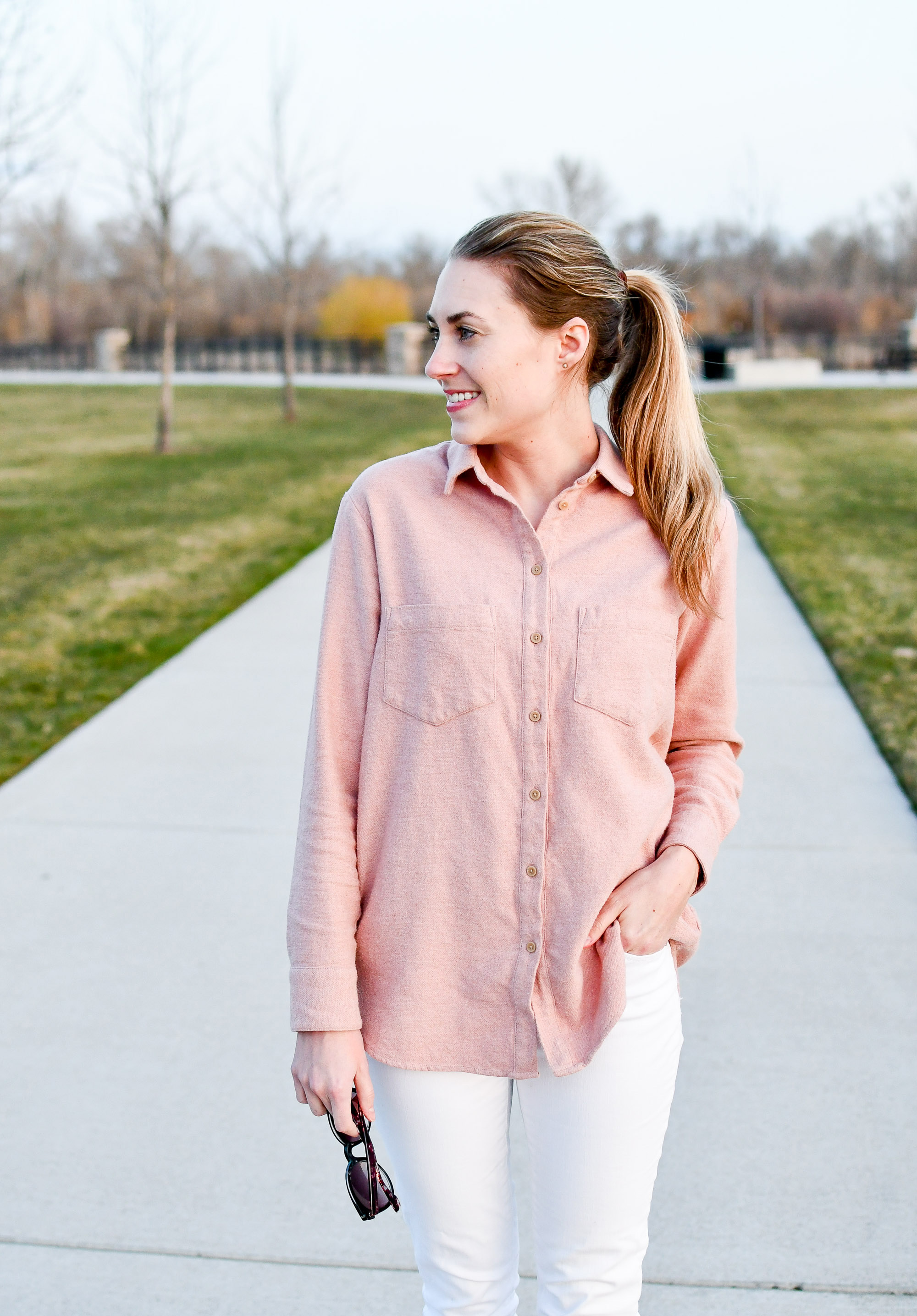 Madewell pink flannel Sunday shirt outfit — Cotton Cashmere Cat Hair