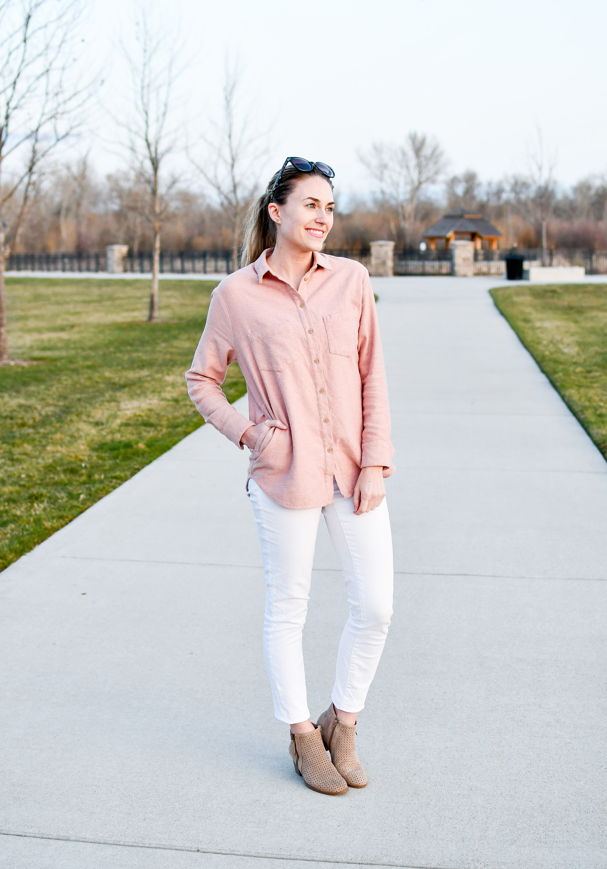 Pink flannel shirt spring outfit — Cotton Cashmere Cat Hair