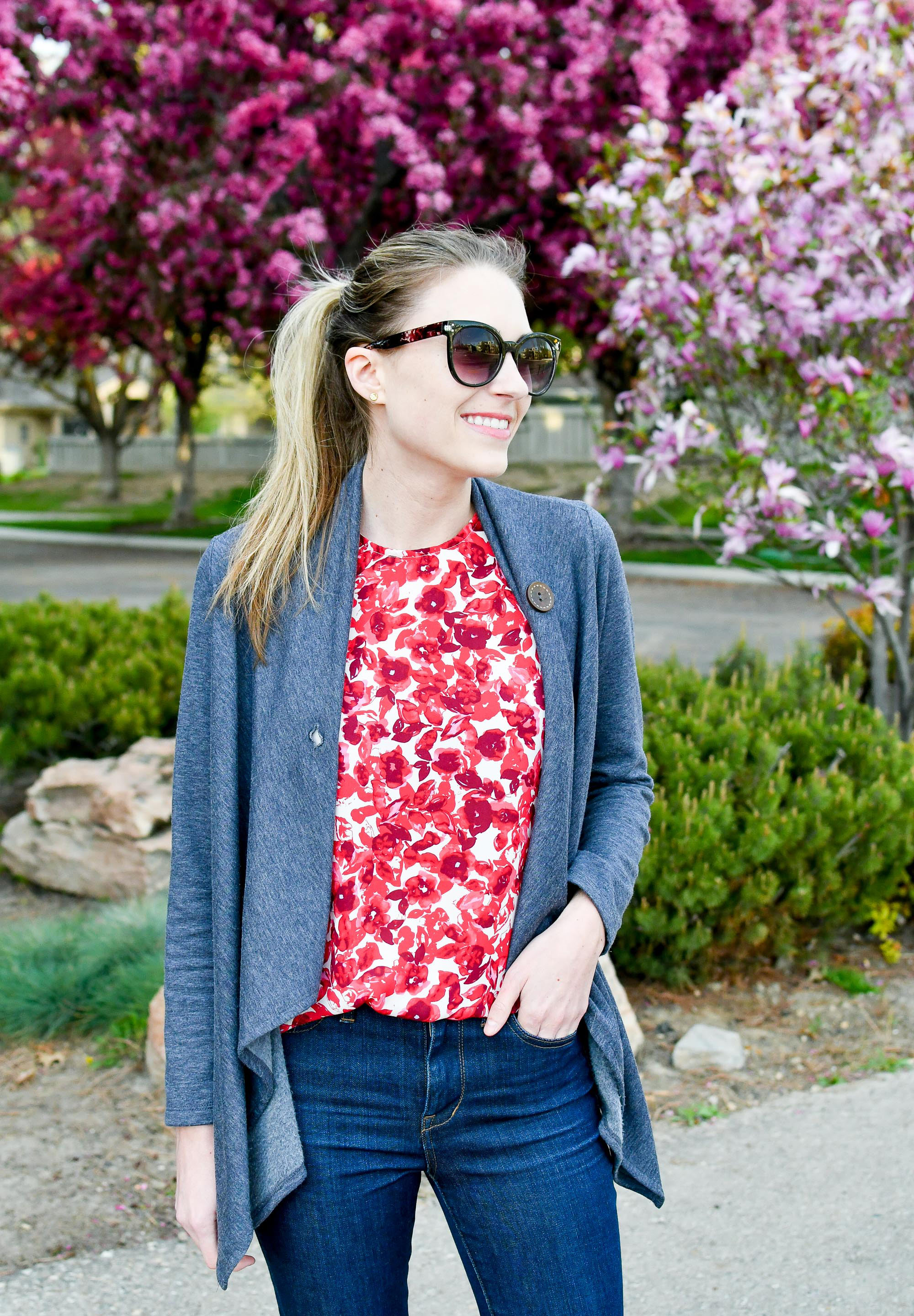 Spring outfit with Bobeau cardigan and floral top — Cotton Cashmere Cat Hair