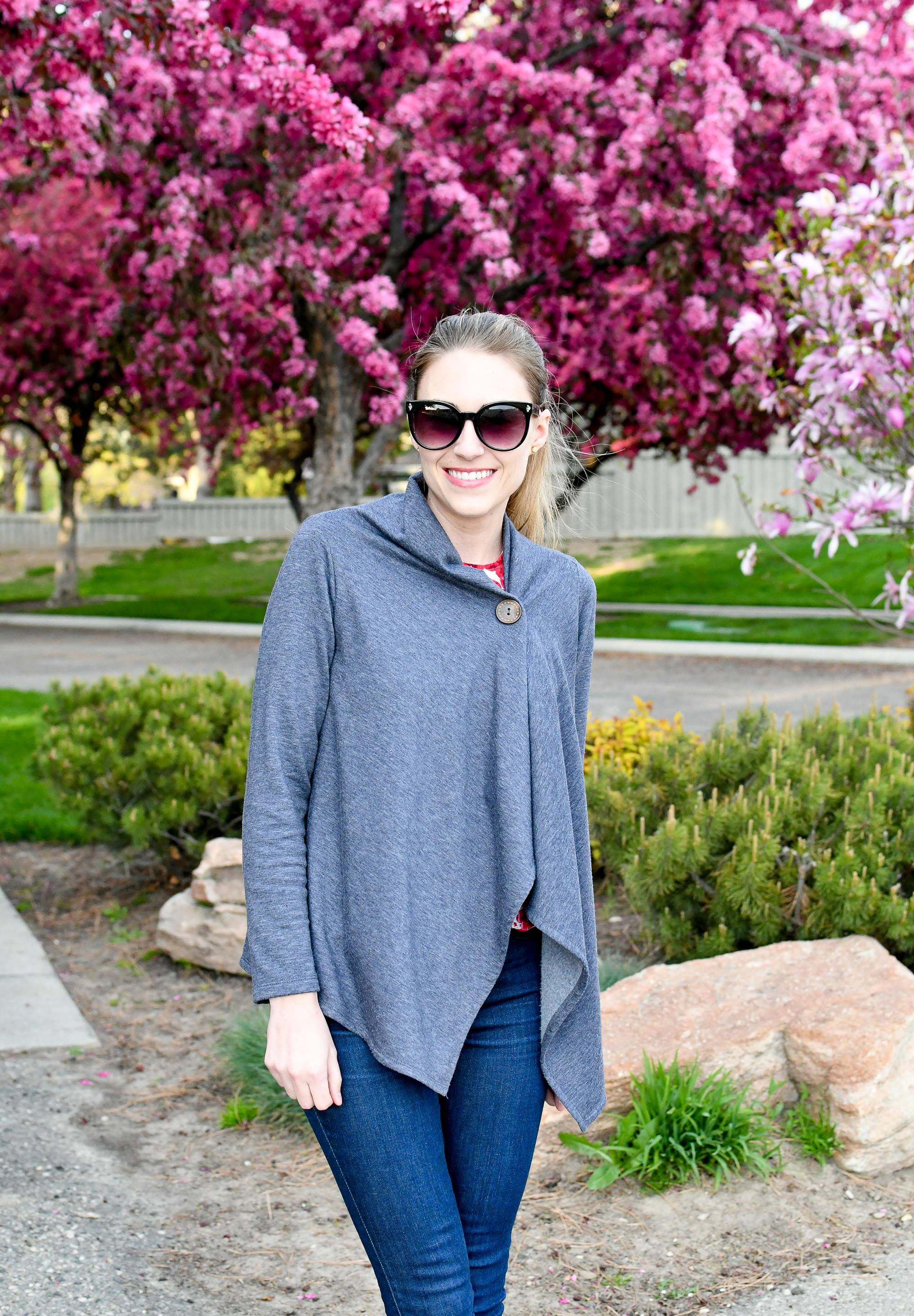 How to wear a Bobeau single button cardigan — Cotton Cashmere Cat Hair