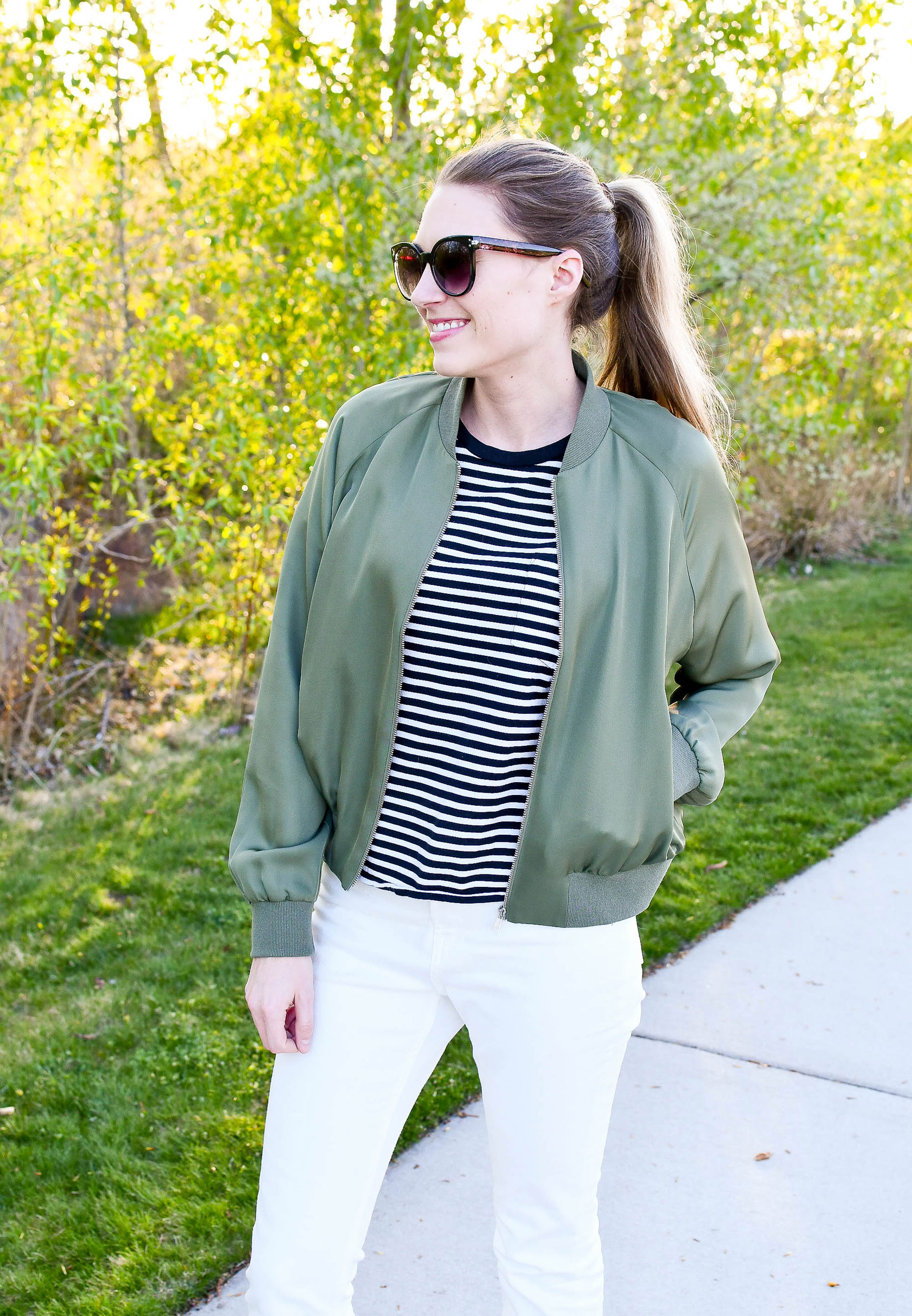 Grana silk bomber jacket outfit — Cotton Cashmere Cat Hair