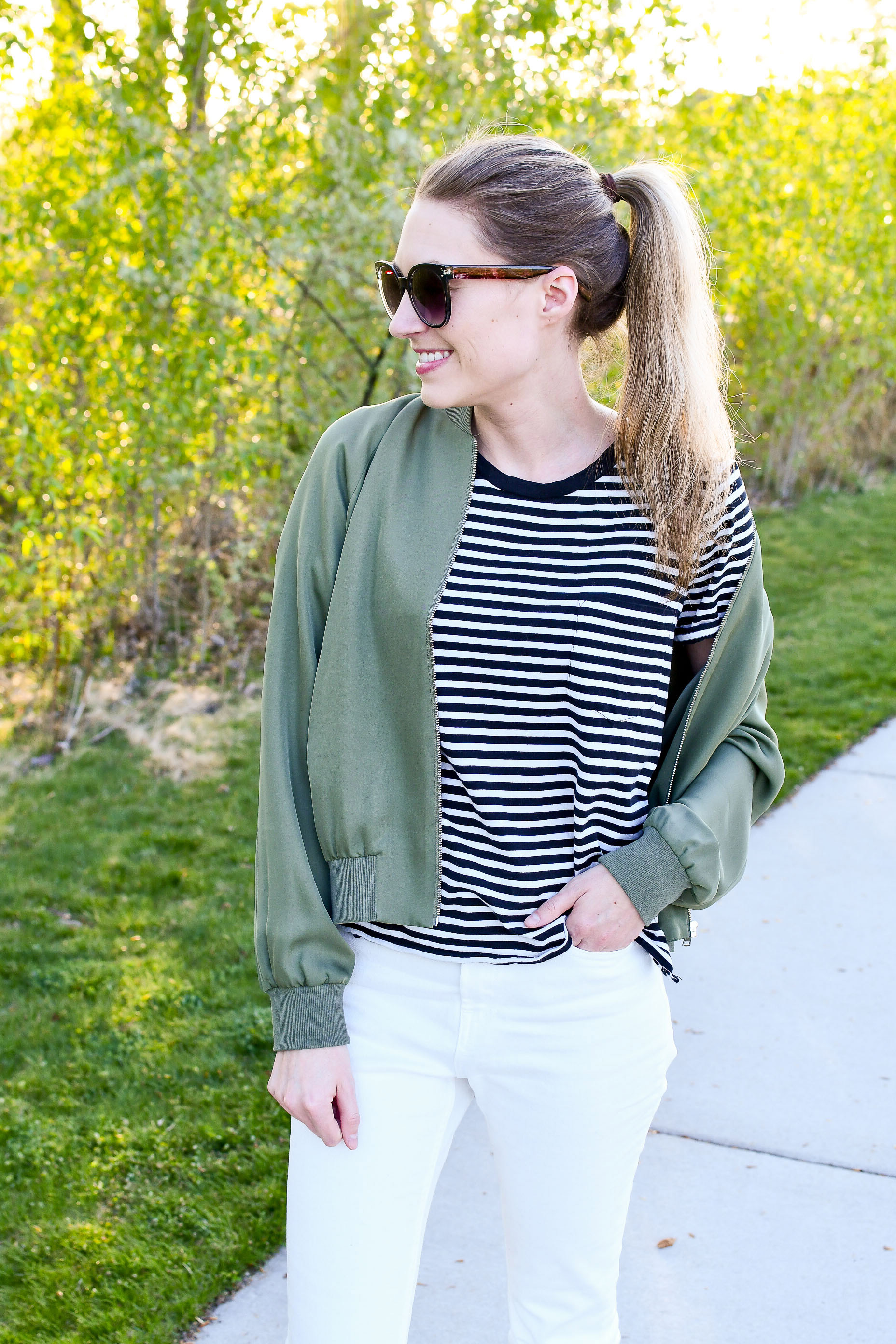 Bomber jacket outfit with striped tee — Cotton Cashmere Cat Hair