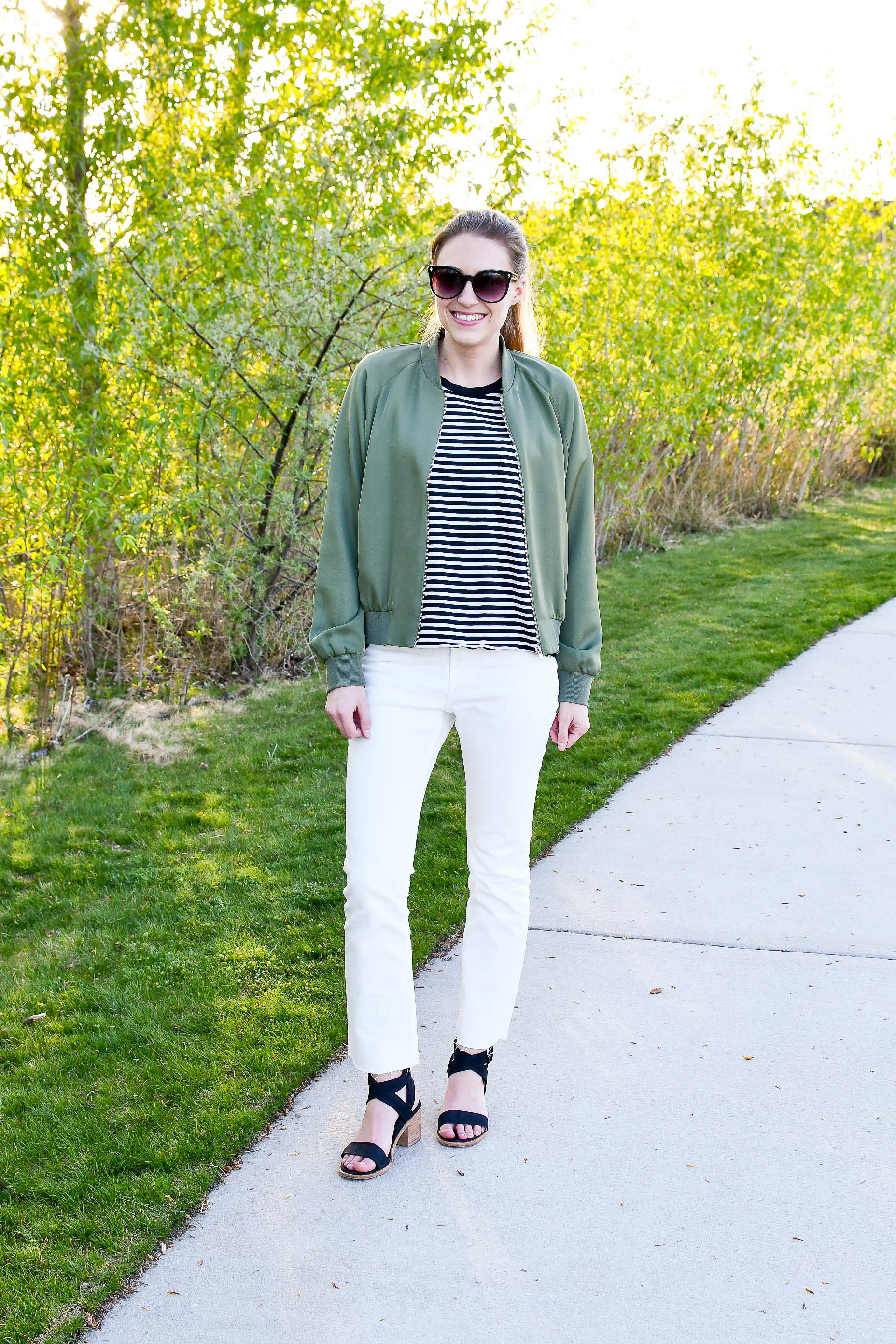 Green bomber jacket spring outfit — Cotton Cashmere Cat Hair