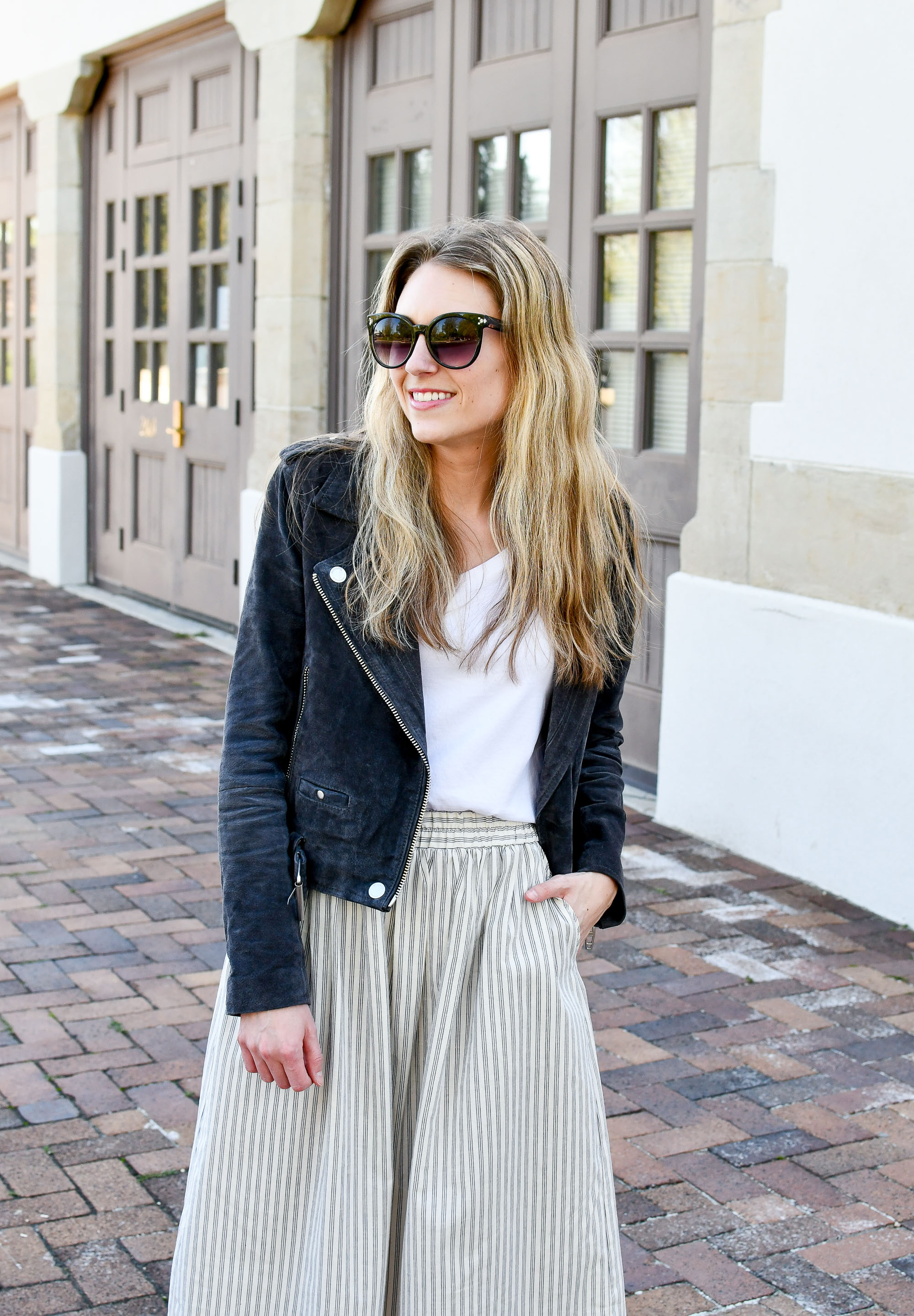 Suede moto jacket spring outfit — Cotton Cashmere Cat Hair