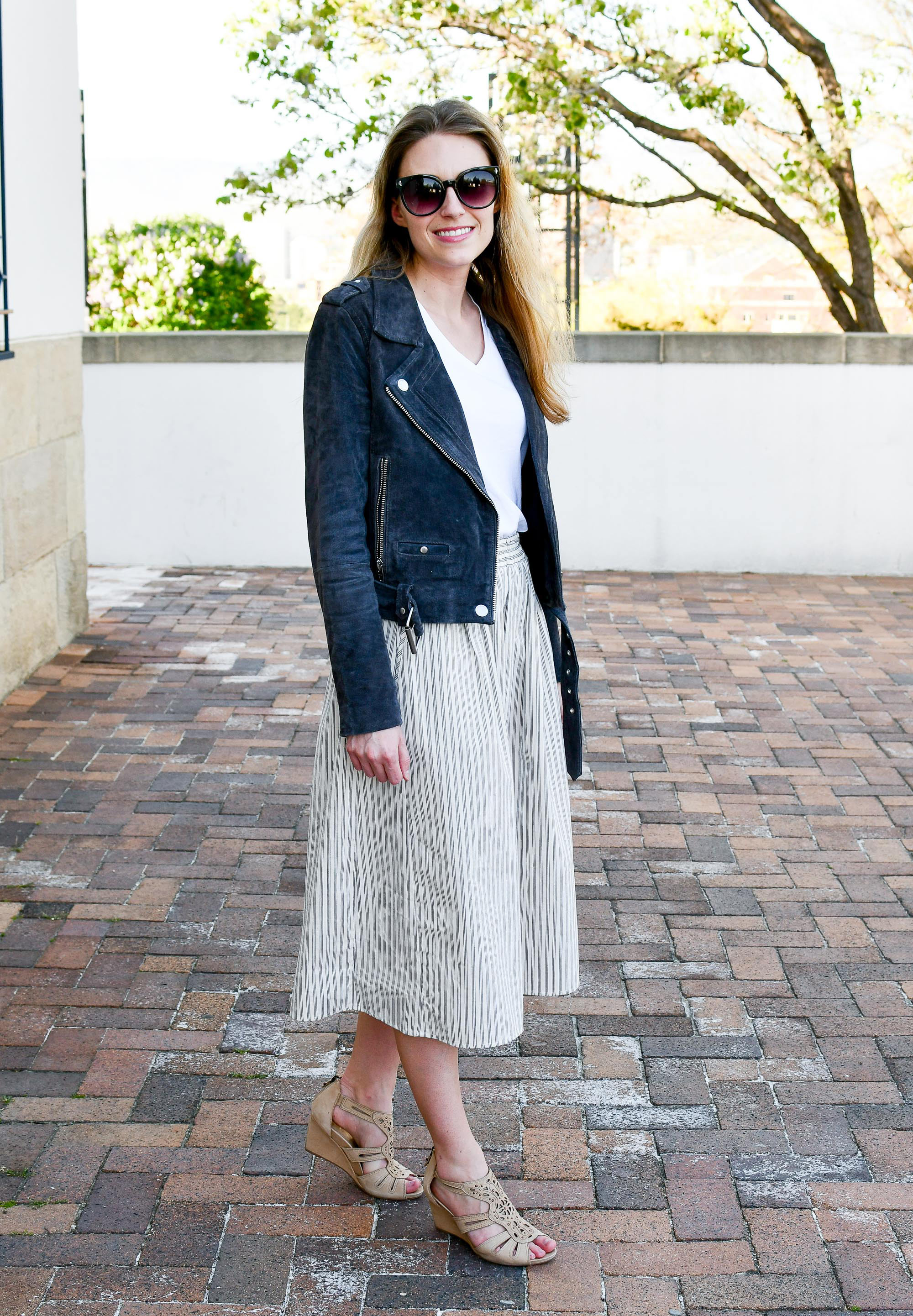 Earthies Saletto sandals spring outfit with midi skirt — Cotton Cashmere Cat Hair