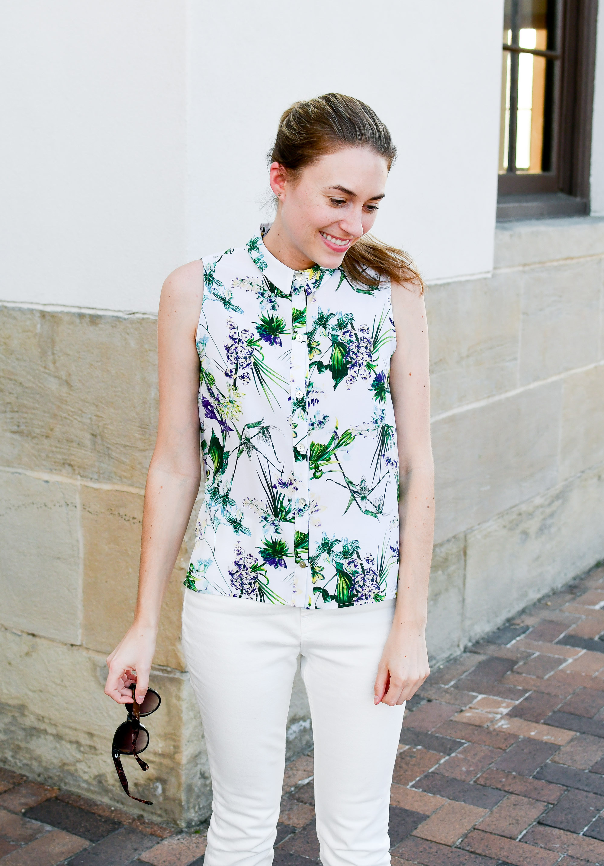 Tropical print silk shirt outfit — Cotton Cashmere Cat Hair