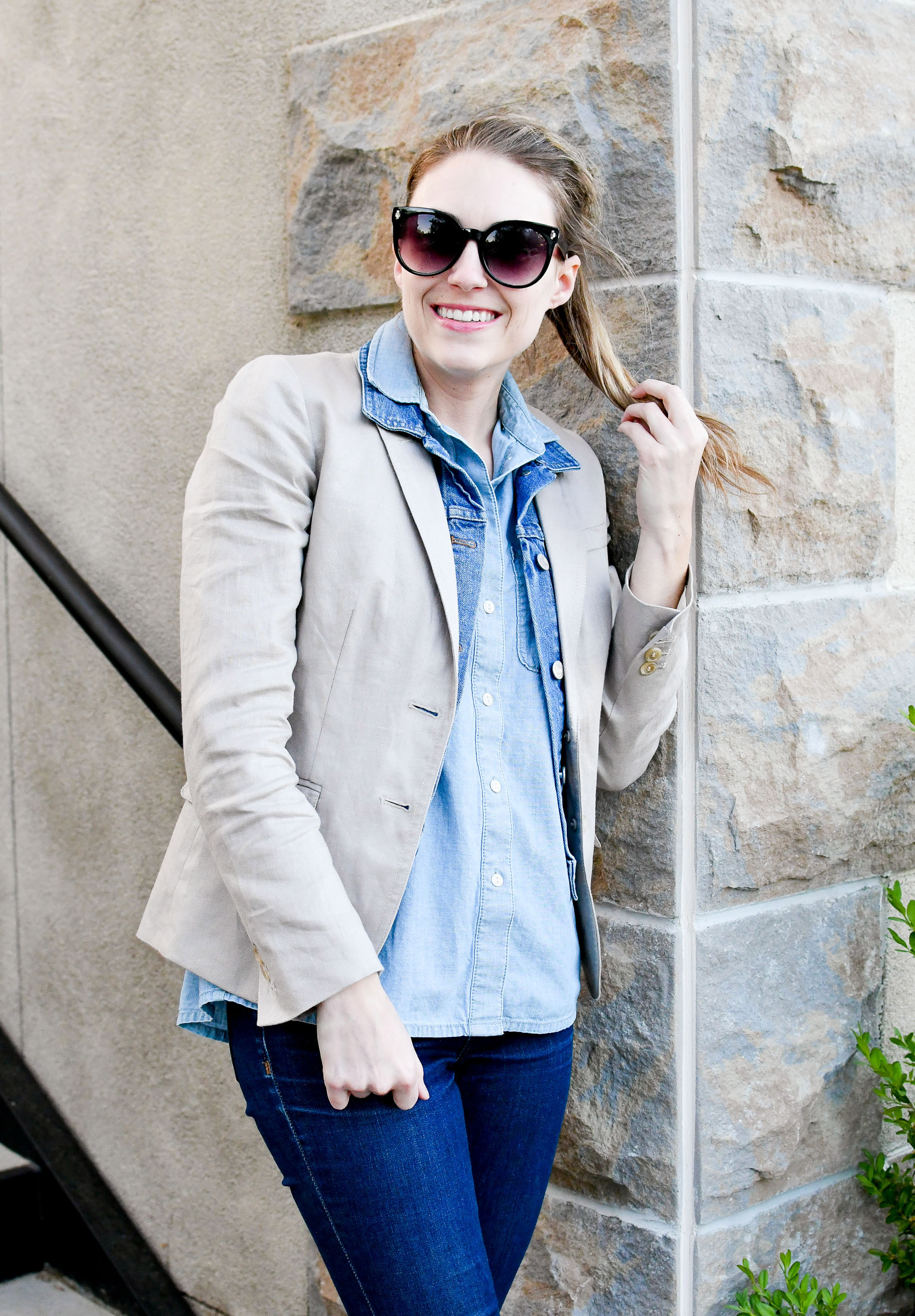 Linen blazer layered with denim vest and chambray shirt — Cotton Cashmere Cat Hair