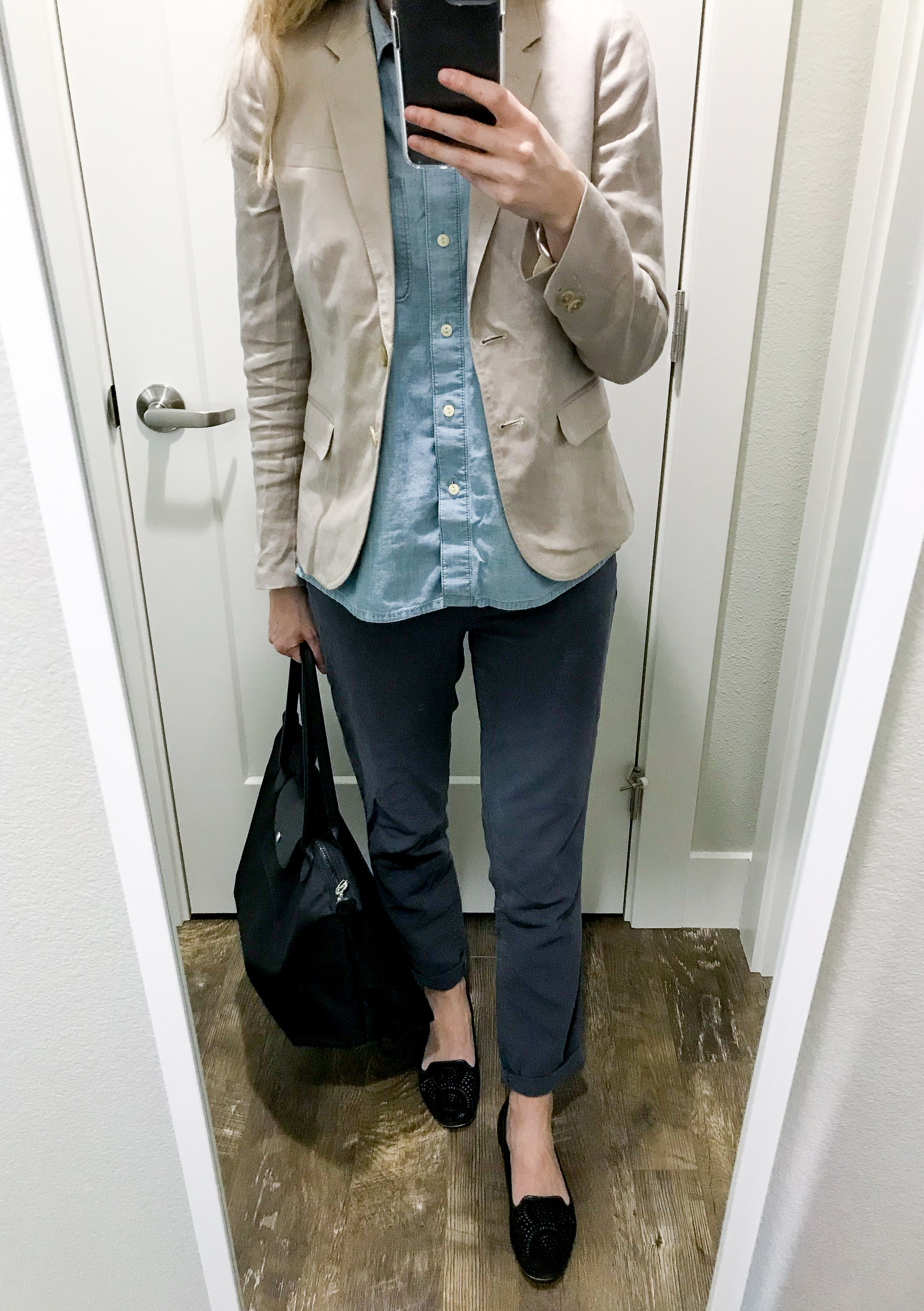 Work trip outfit with linen blazer — Cotton Cashmere Cat Hair