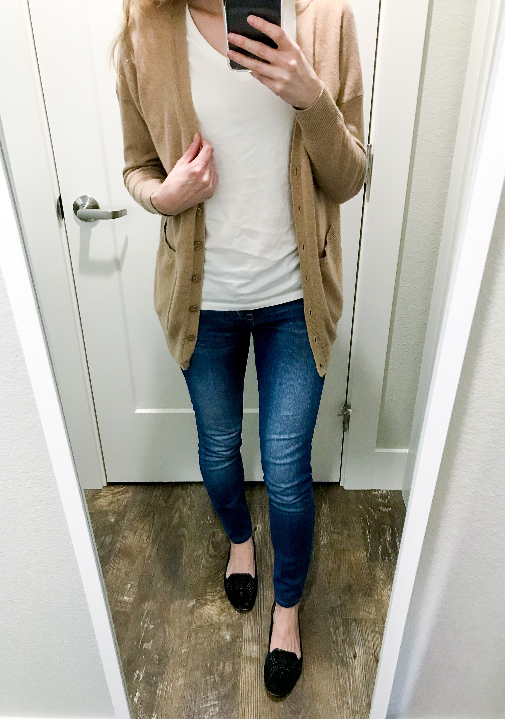 Travel outfit with camel cardigan and loafers — Cotton Cashmere Cat Hair